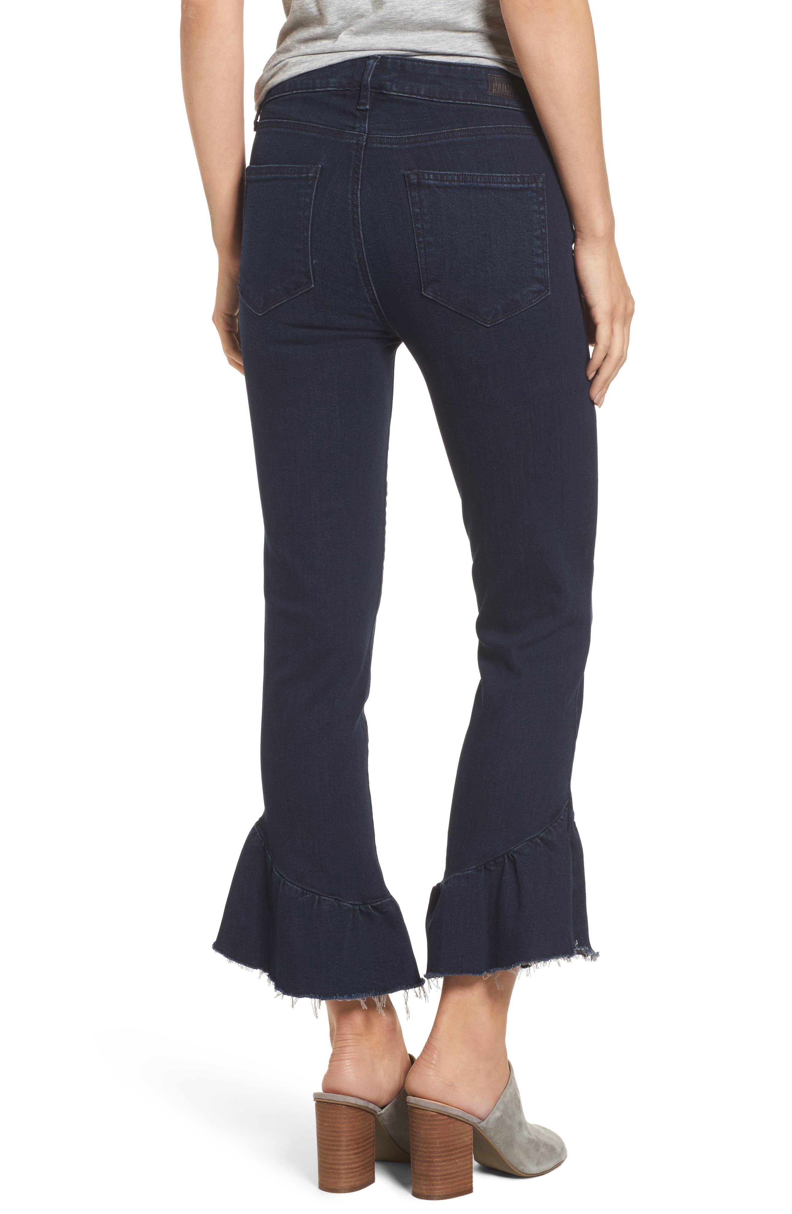 Flora Ruffle Hem Crop Straight Leg Jeans,                             Alternate thumbnail 2, color,