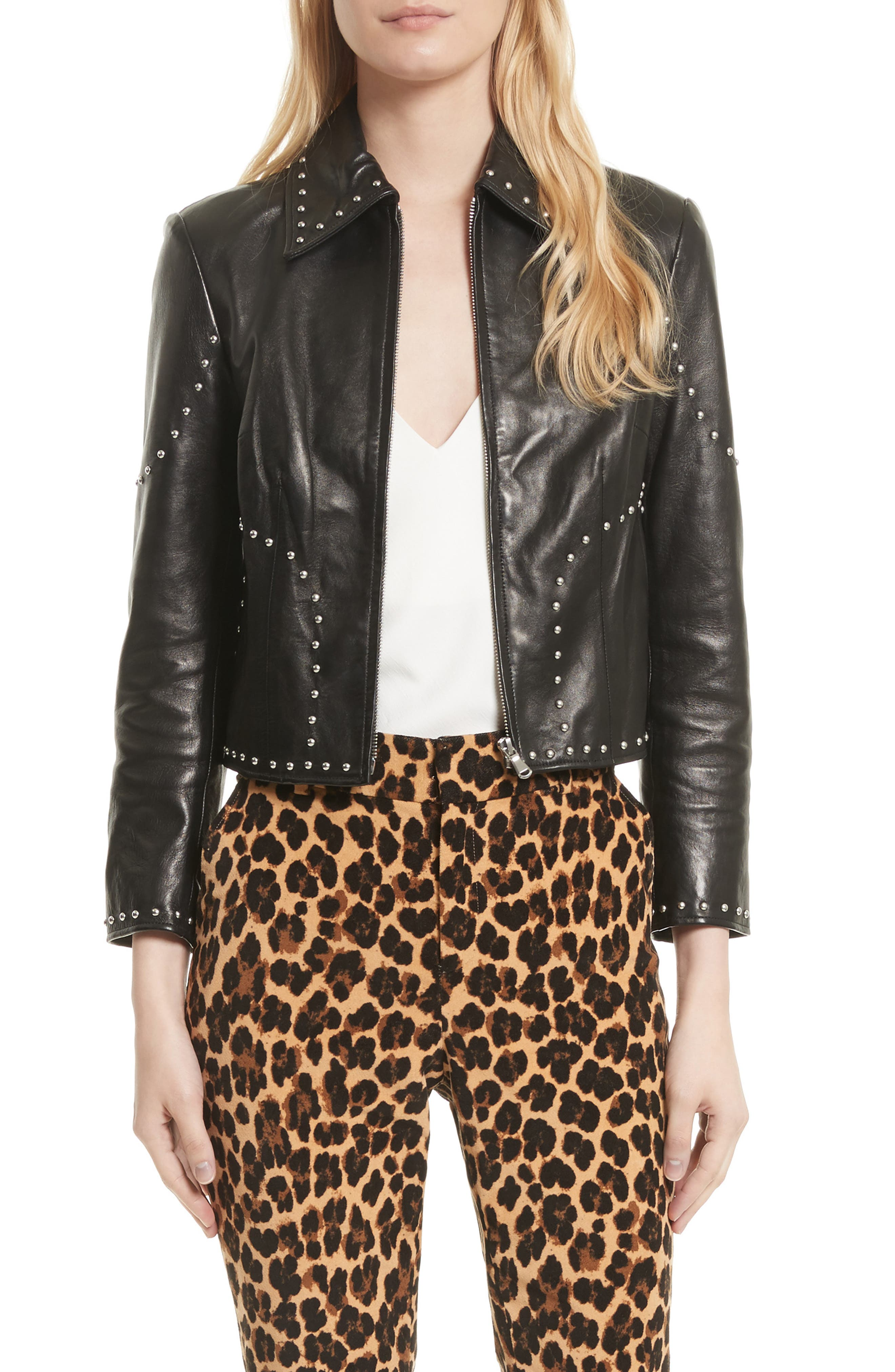 Studded Leather Jacket,                         Main,                         color, 001
