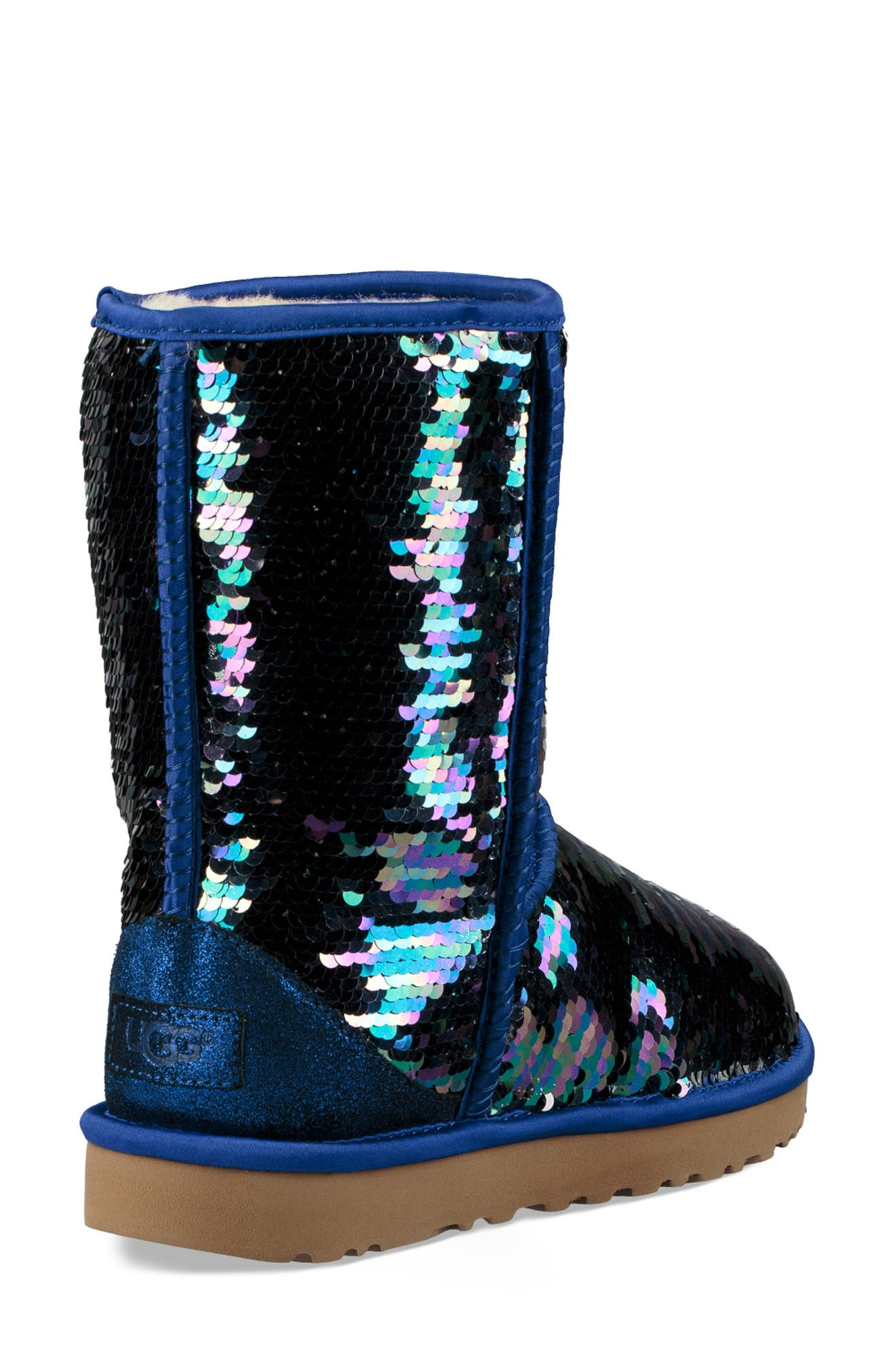 Classic Short Sequin Boot,                             Alternate thumbnail 2, color,                             NAVY