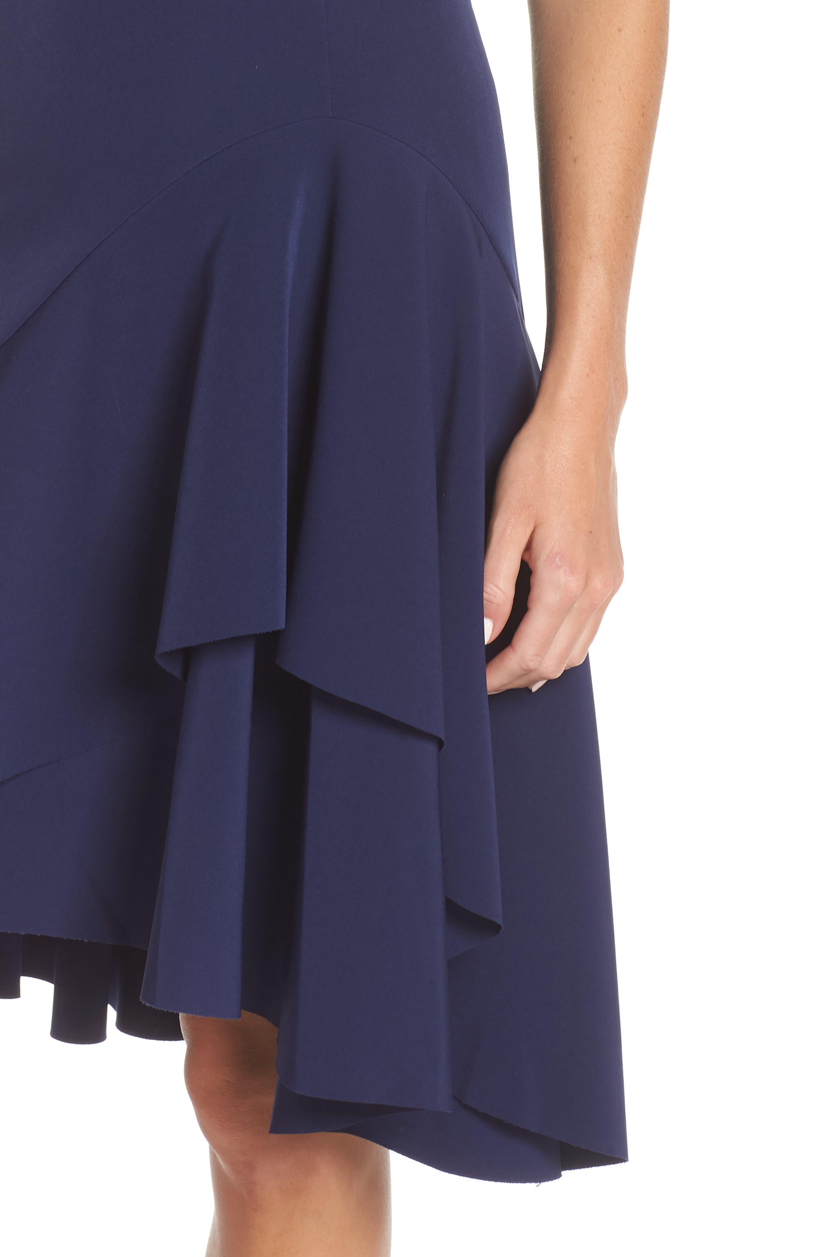 High/Low Ruffle Hem Dress,                             Alternate thumbnail 4, color,                             410