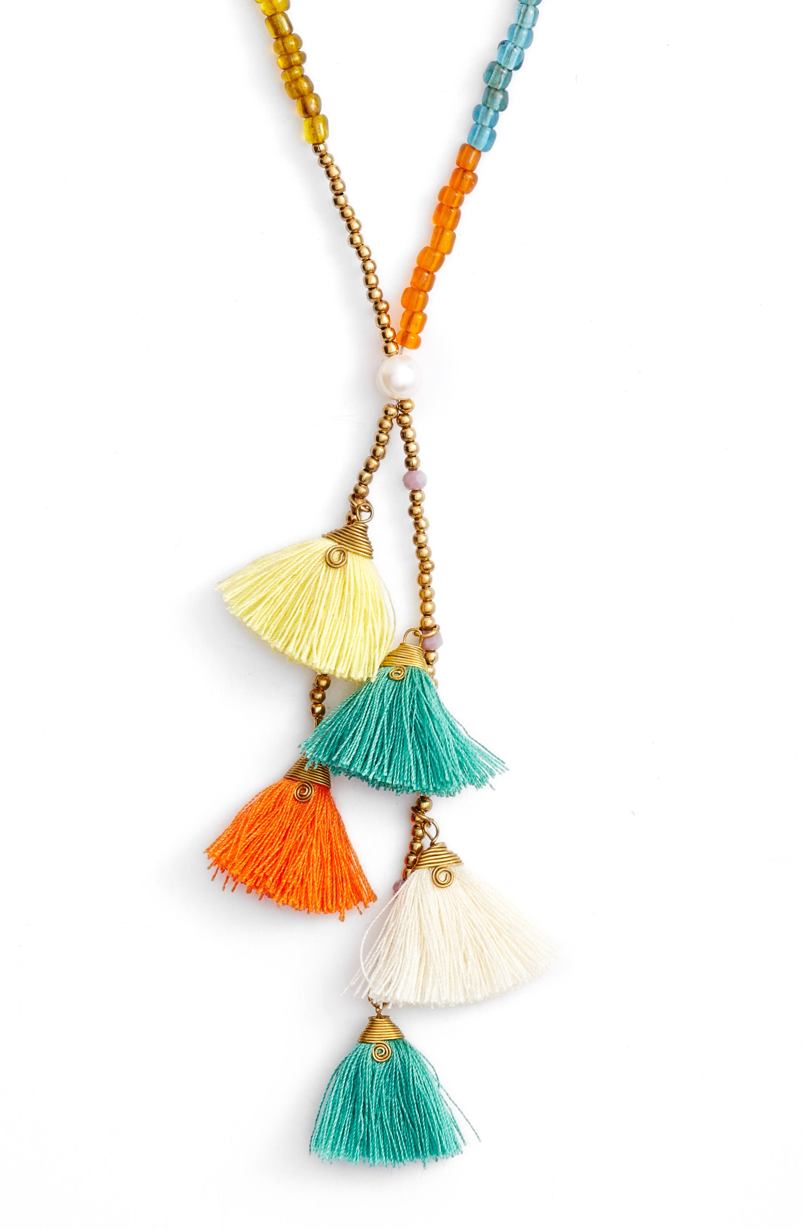Tiny Tassel Beaded Necklace,                             Alternate thumbnail 2, color,                             800
