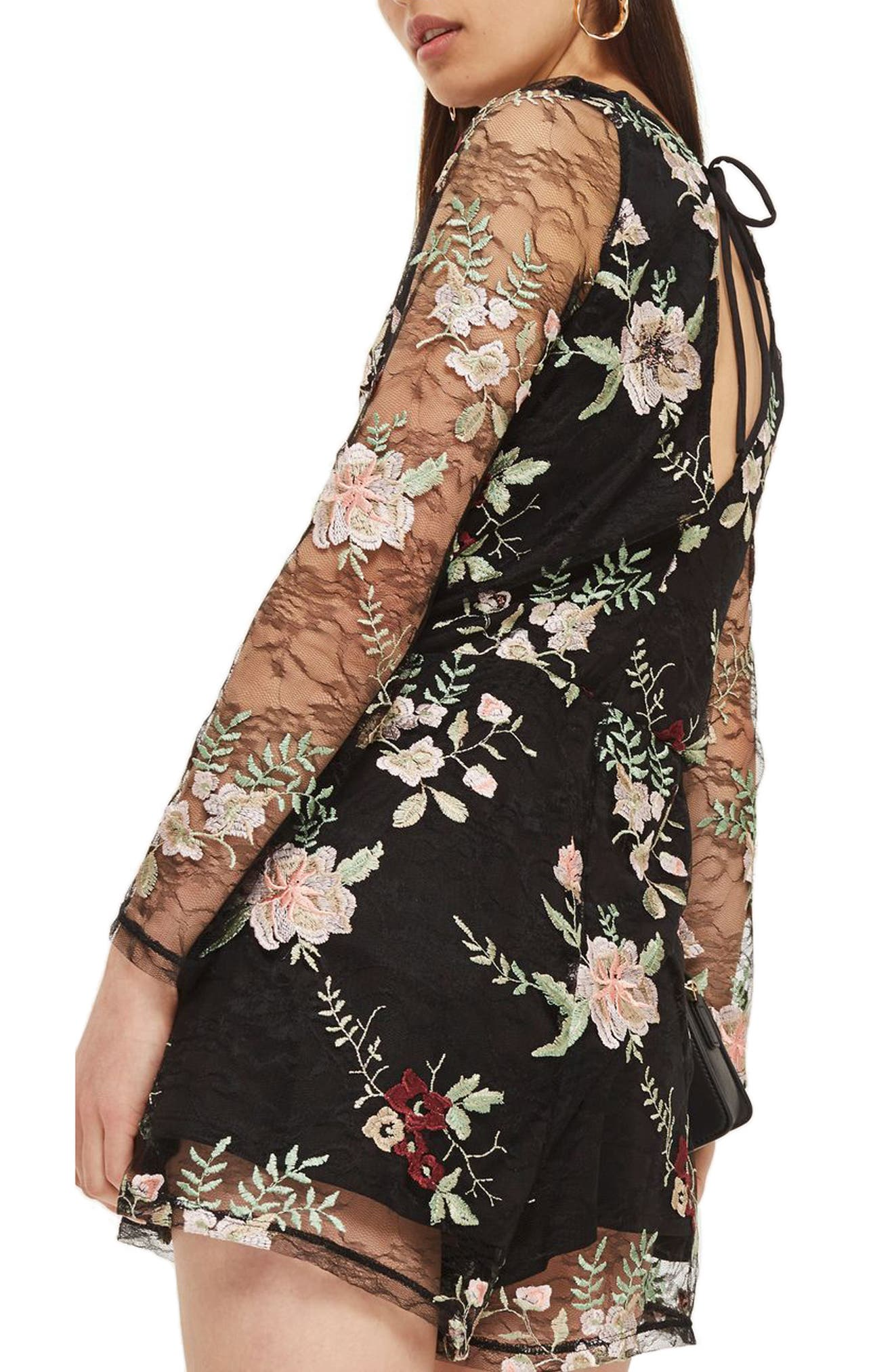 Embroidered Lace Romper,                             Alternate thumbnail 2, color,                             001