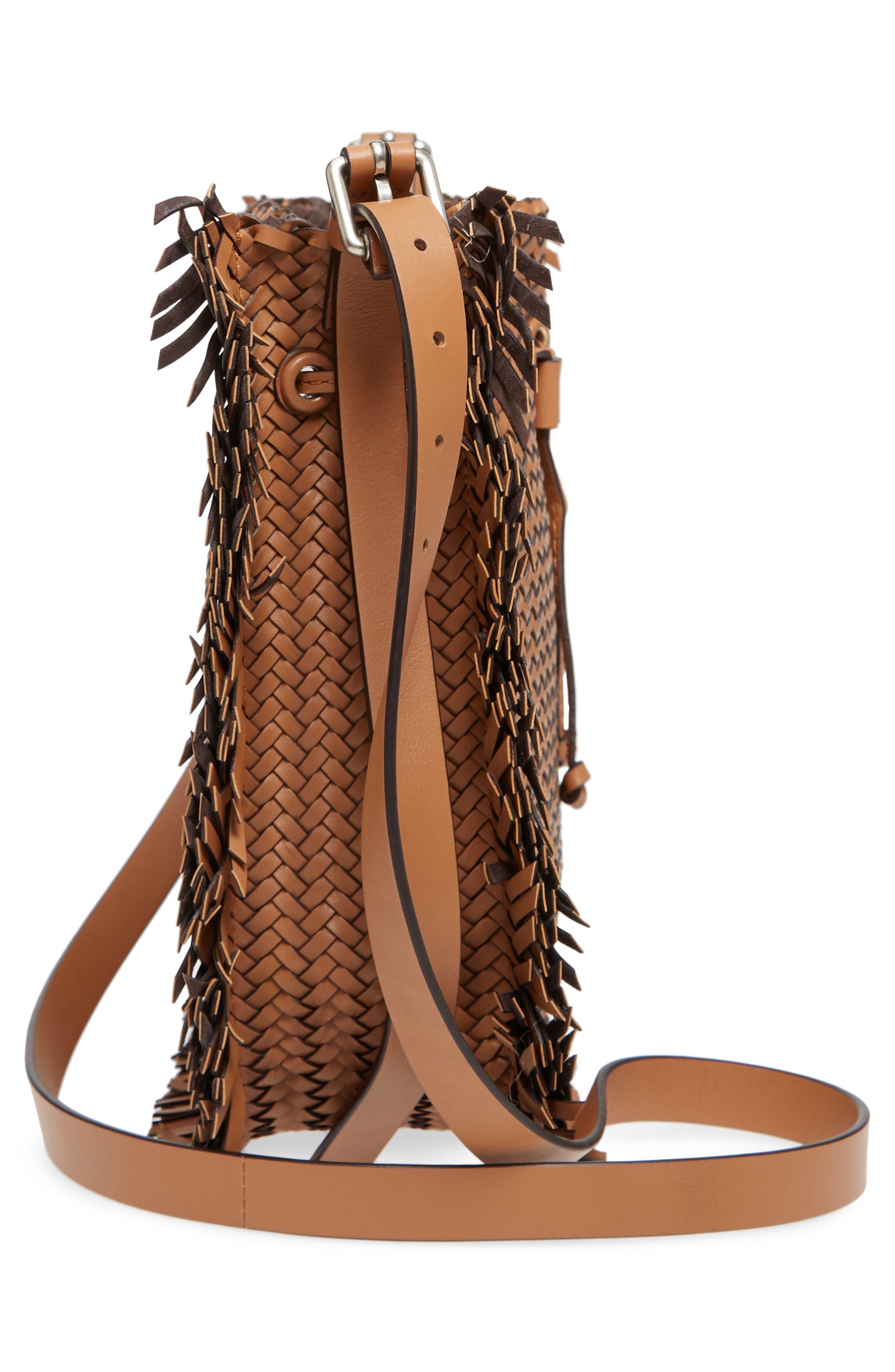 Maldives Woven Frayed Leather Crossbody Bag,                             Alternate thumbnail 5, color,                             231