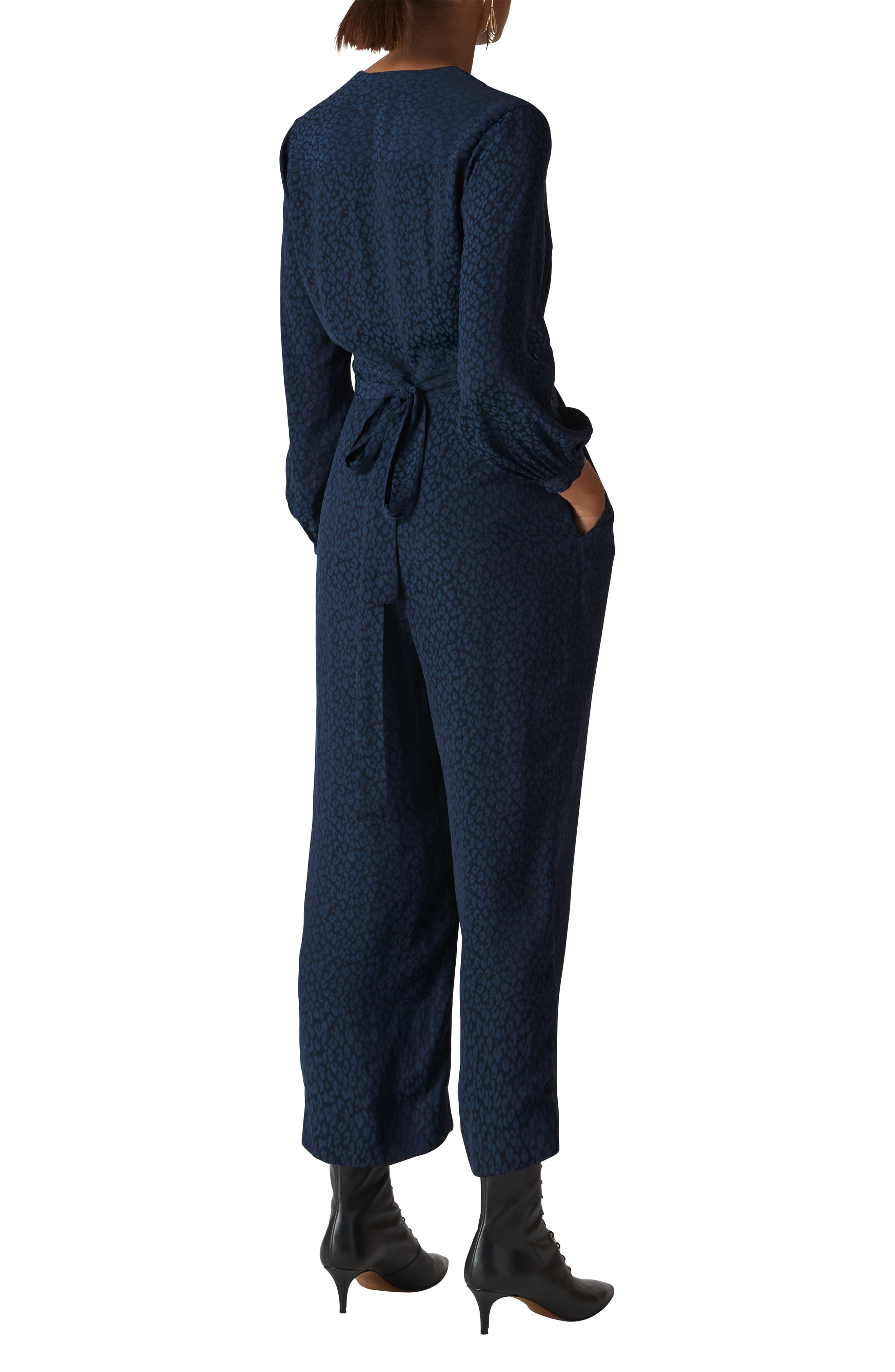 WHISTLES,                             Animal Jacquard Tie Jumpsuit,                             Alternate thumbnail 2, color,                             400