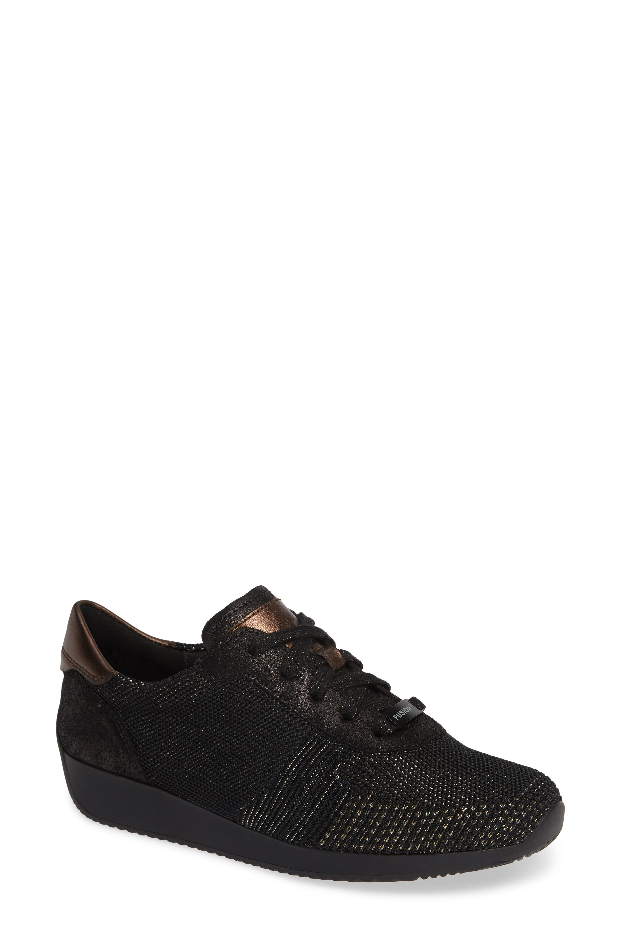 Lilly Sneaker,                         Main,                         color, BLACK/ BLACK LEATHER
