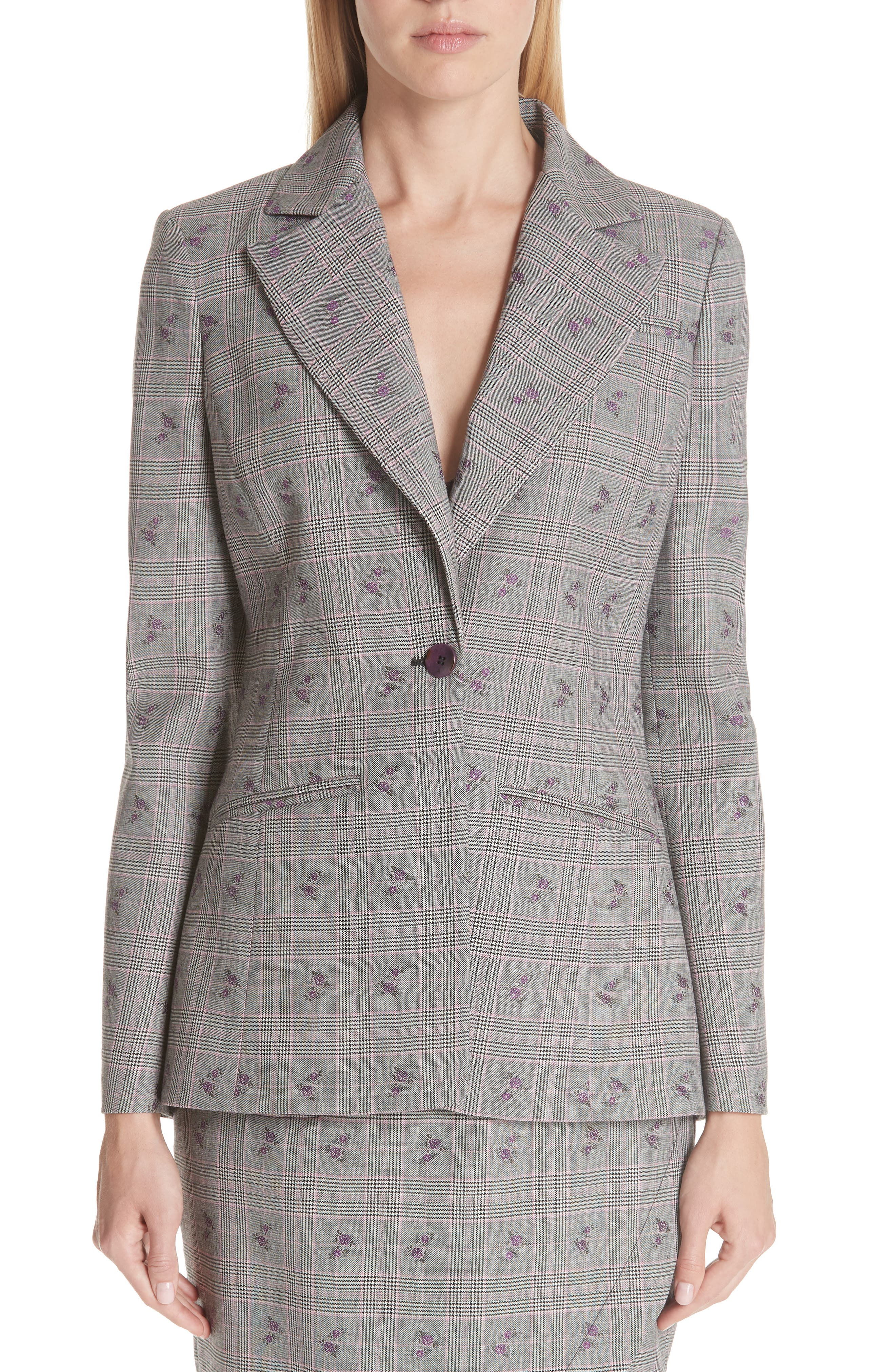 ALTUZARRA,                             Floral Plaid Jacket,                             Alternate thumbnail 4, color,                             001