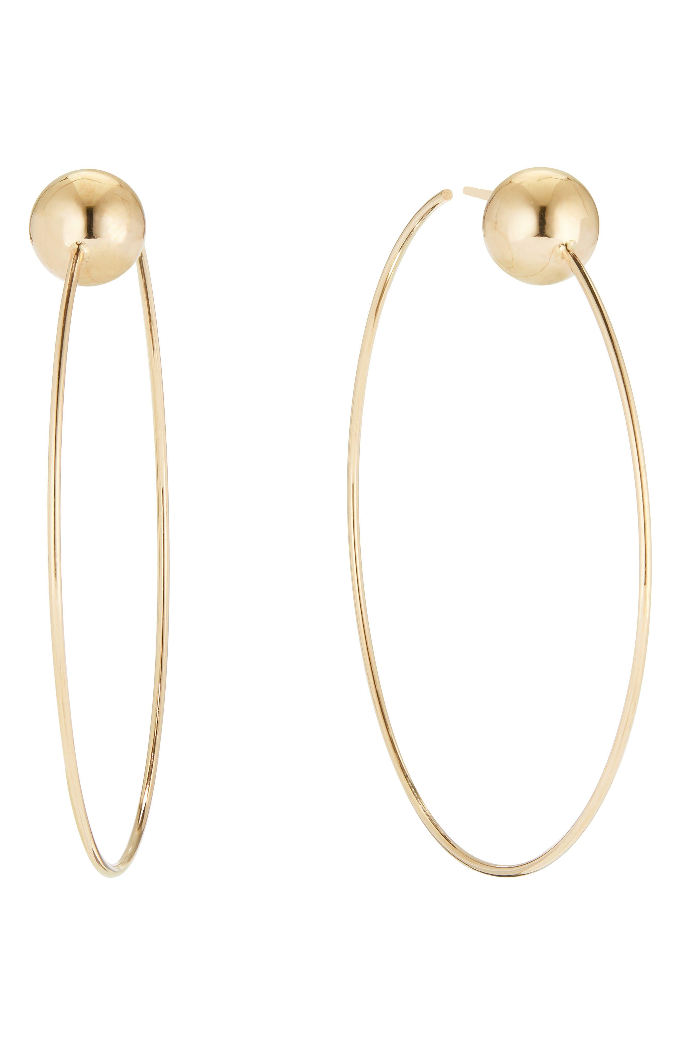 LANA 14K Gold Bead-Post Hoop Earrings