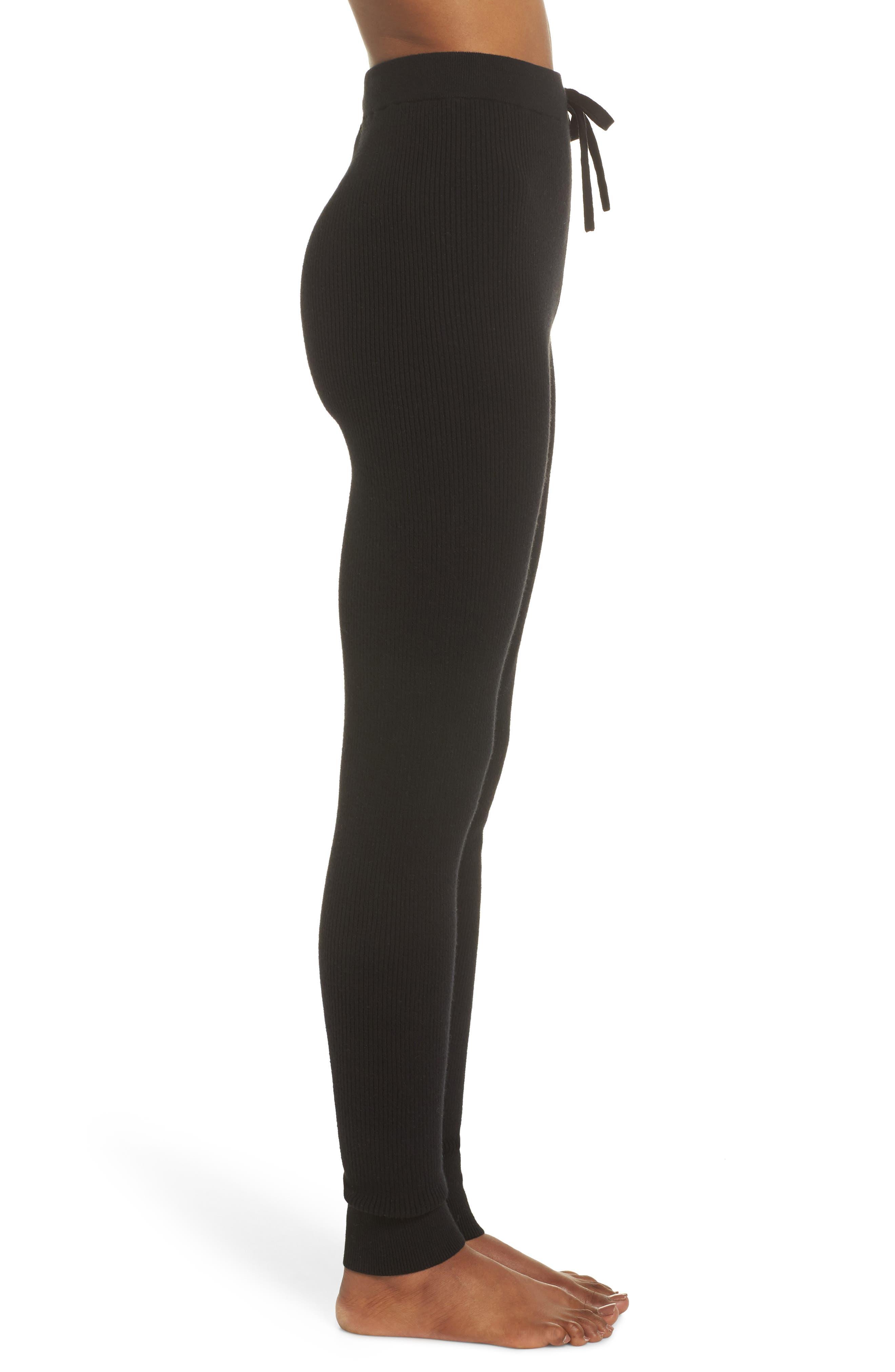Ribbed Sweater Leggings,                             Alternate thumbnail 3, color,                             BLACK