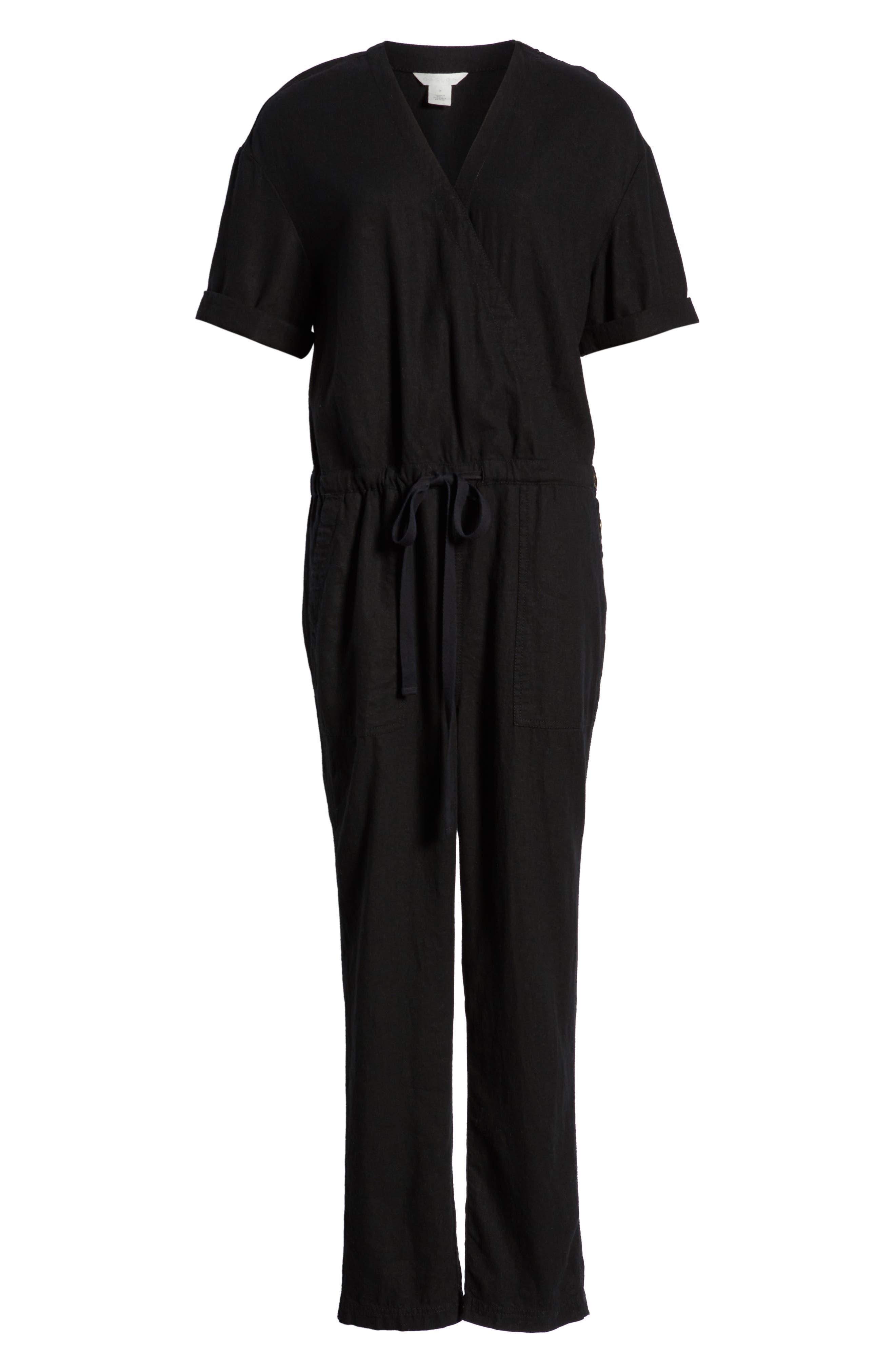 CASLON<SUP>®</SUP>,                             Faux Wrap Jumpsuit,                             Alternate thumbnail 7, color,                             BLACK