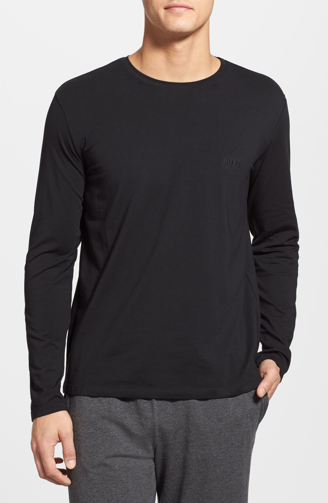 Stretch Cotton Long Sleeve T-Shirt, Main, color, 001