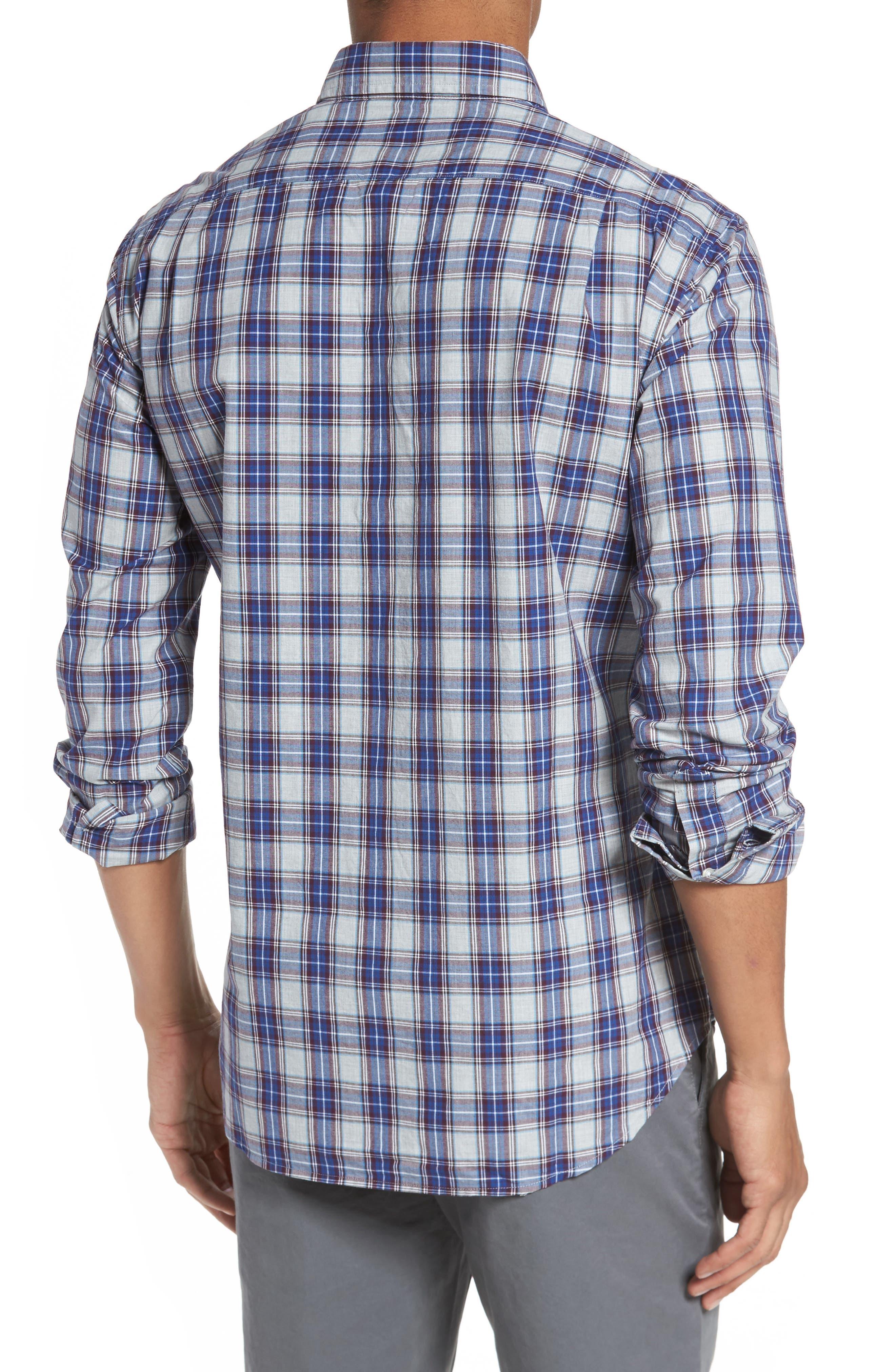 Slim Fit Washed Plaid Sport Shirt,                             Alternate thumbnail 2, color,