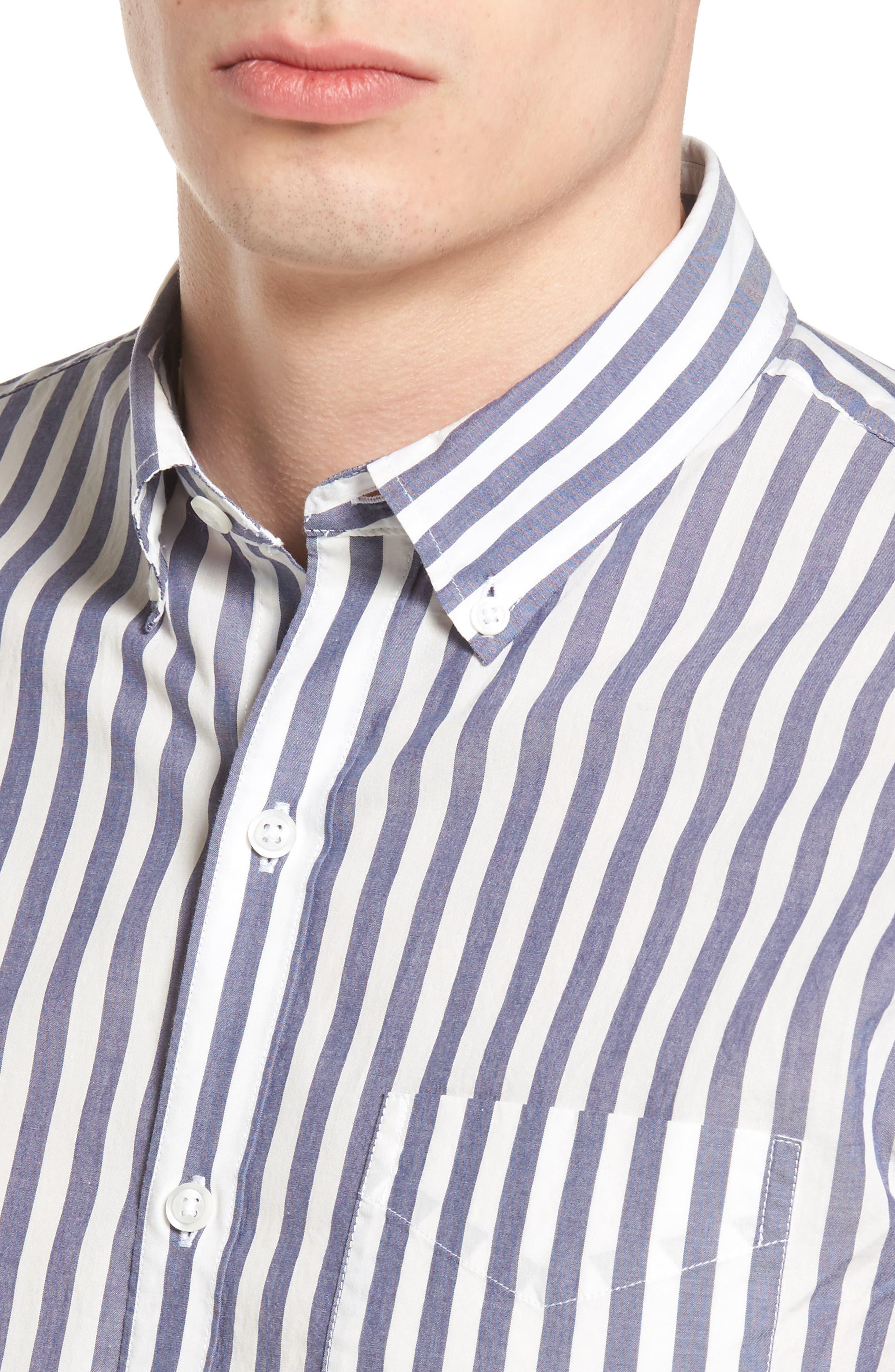 Slim Fit Summerweight Stripe Sport Shirt,                             Alternate thumbnail 4, color,                             400