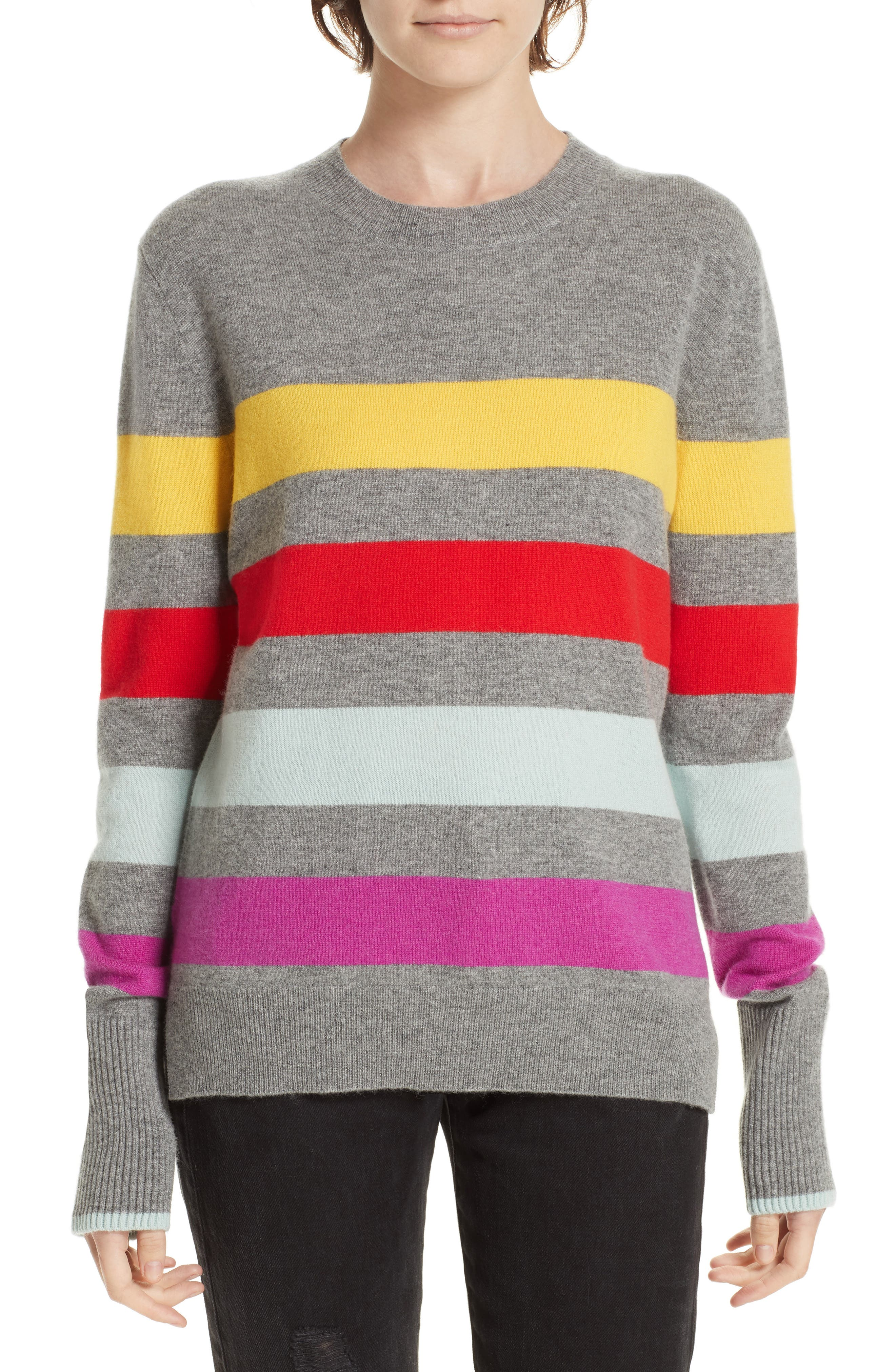 Candy Stripe Sweater,                             Main thumbnail 1, color,                             GREY MARLE/ RAINBOW