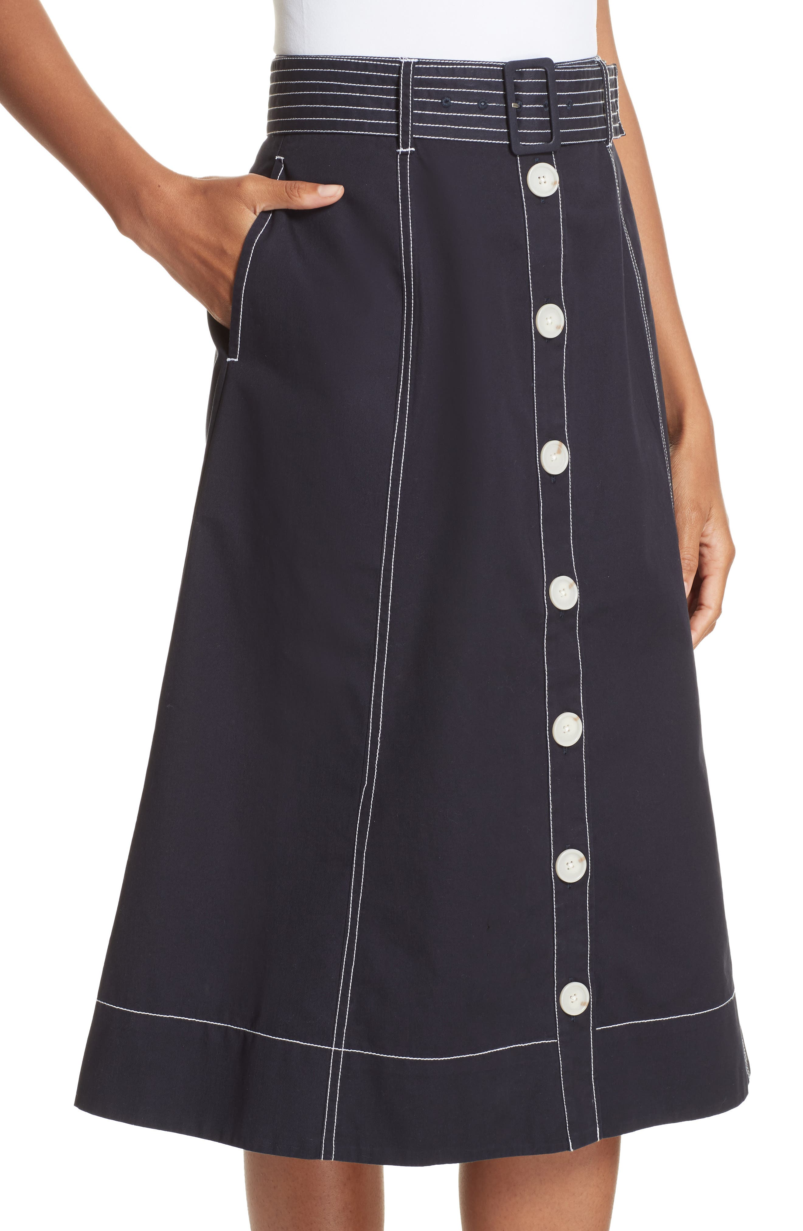 Mayaly Belted Cotton Skirt,                             Alternate thumbnail 4, color,                             MIDNIGHT