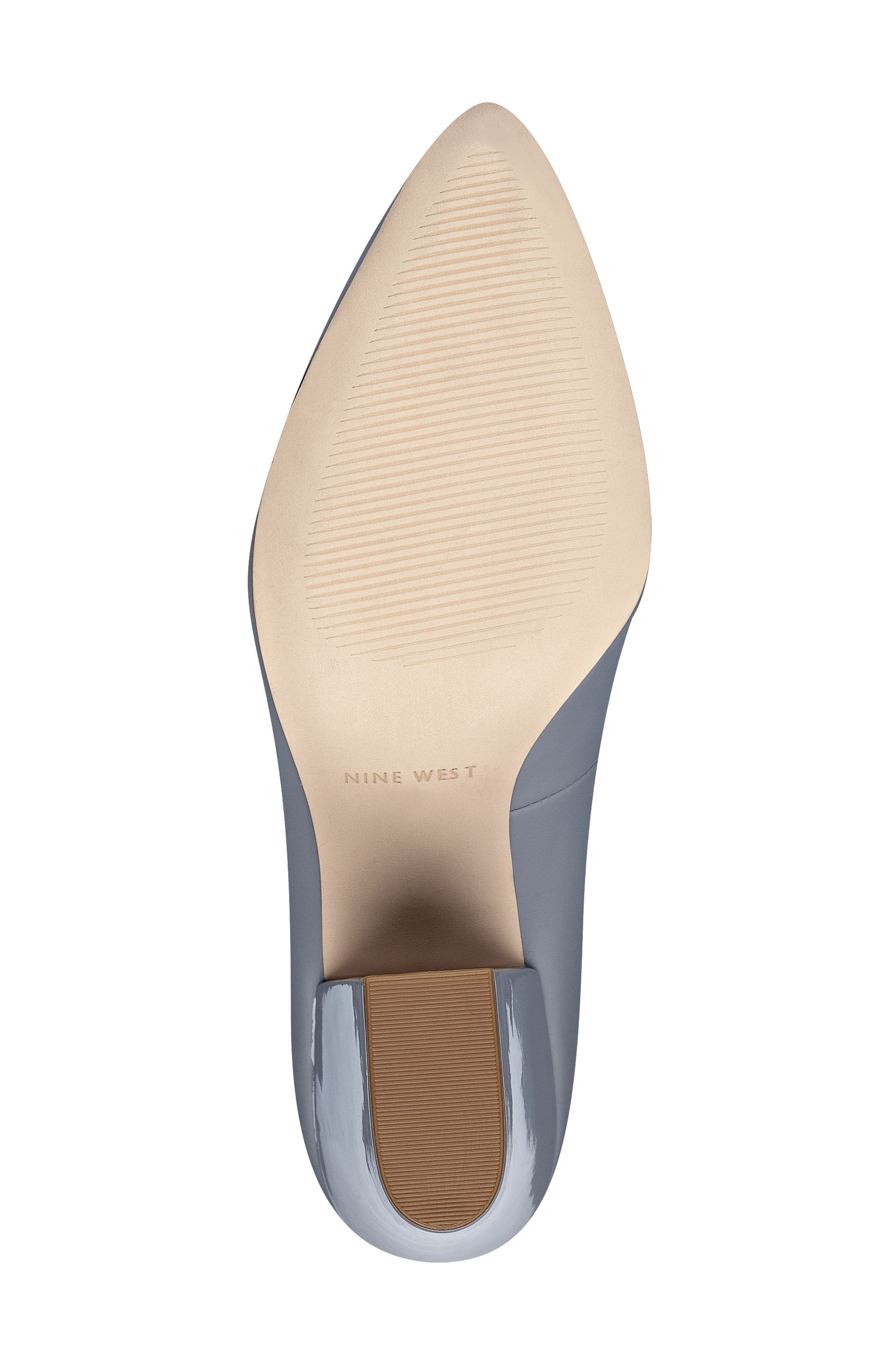 Scheila Pointy Toe Pump,                             Alternate thumbnail 4, color,                             GREY FAUX LEATHER