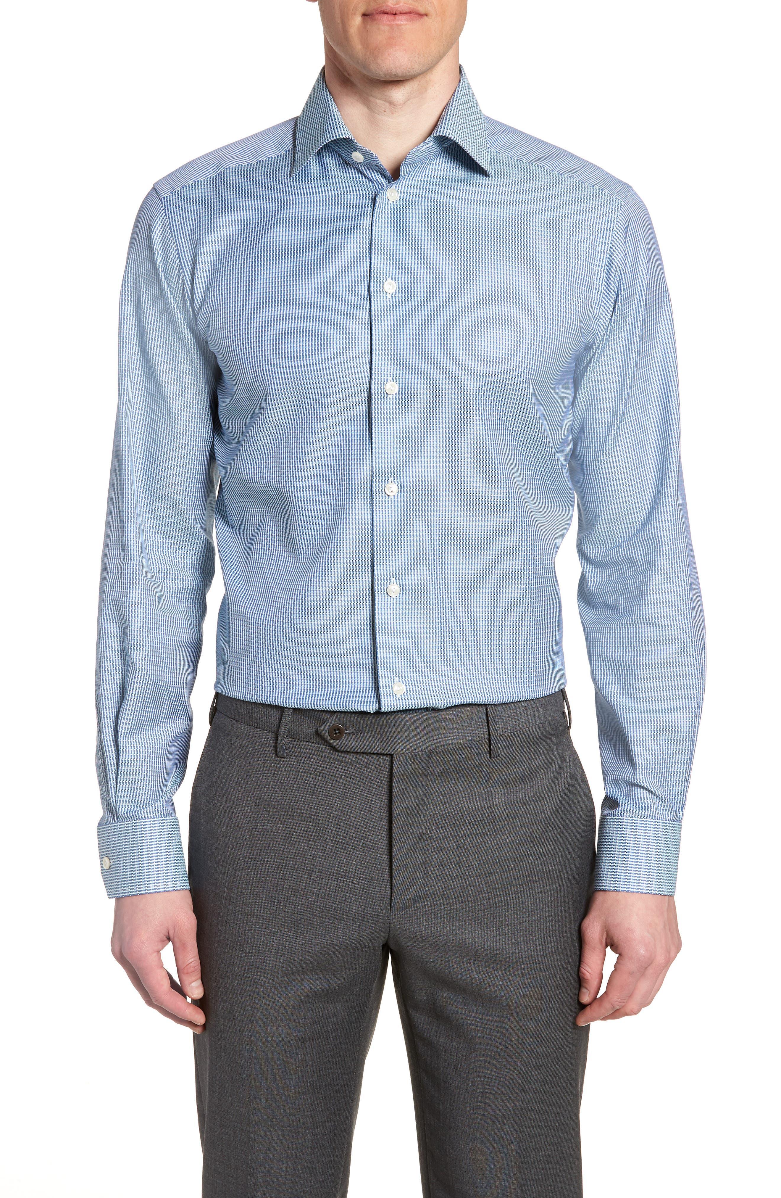 Contemporary Fit Pattern Jacquard Dress Shirt,                             Main thumbnail 1, color,                             400