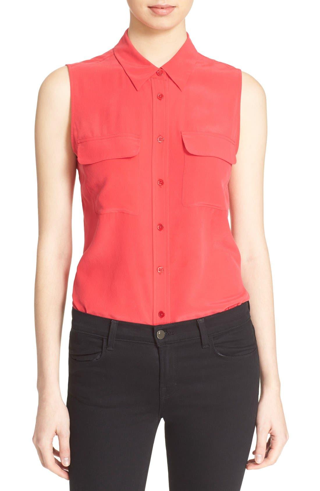 'Slim Signature' Sleeveless Silk Shirt,                             Main thumbnail 36, color,