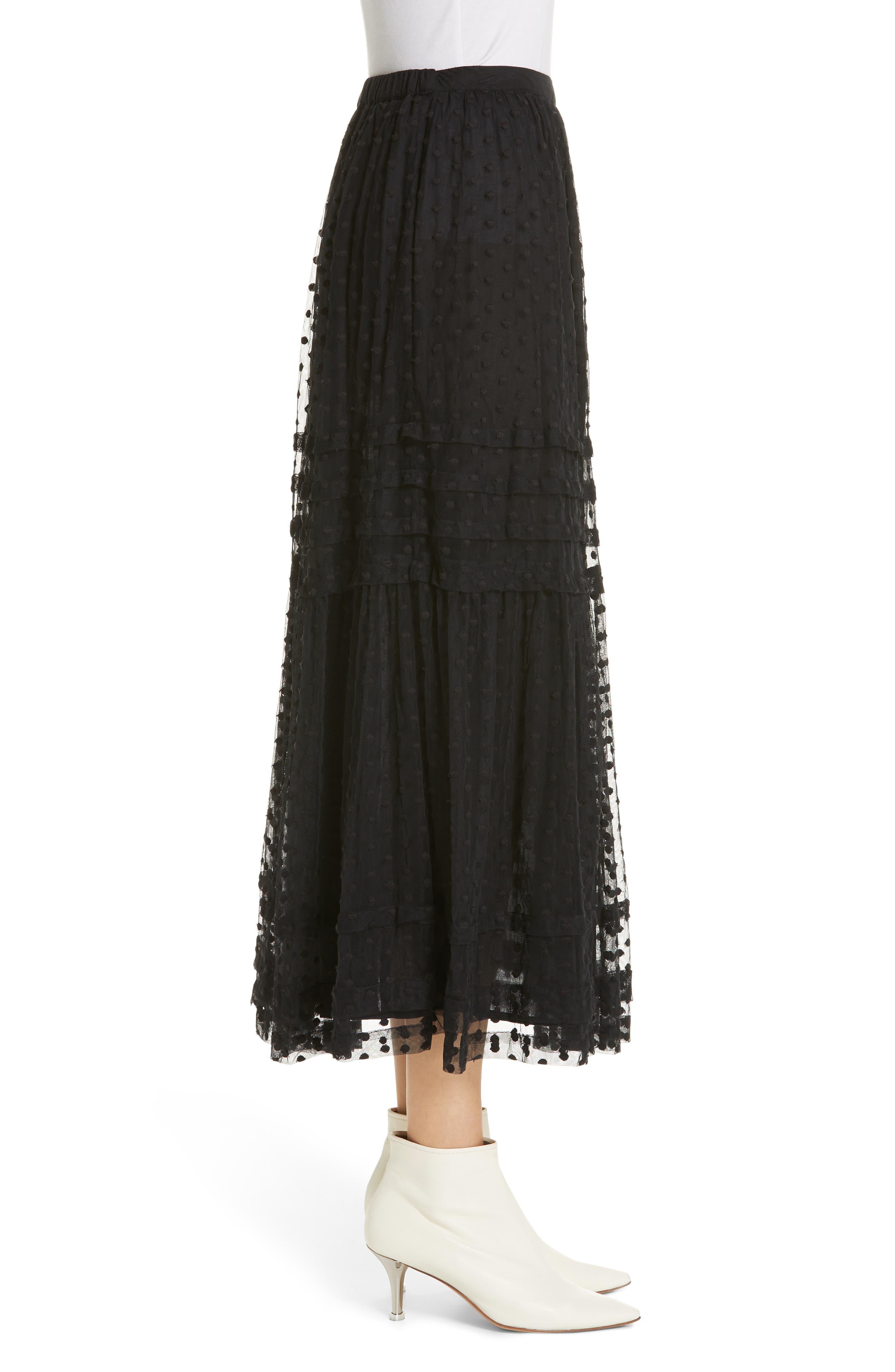 The Sway Polka Dot Mesh Skirt,                             Alternate thumbnail 3, color,                             BLACK
