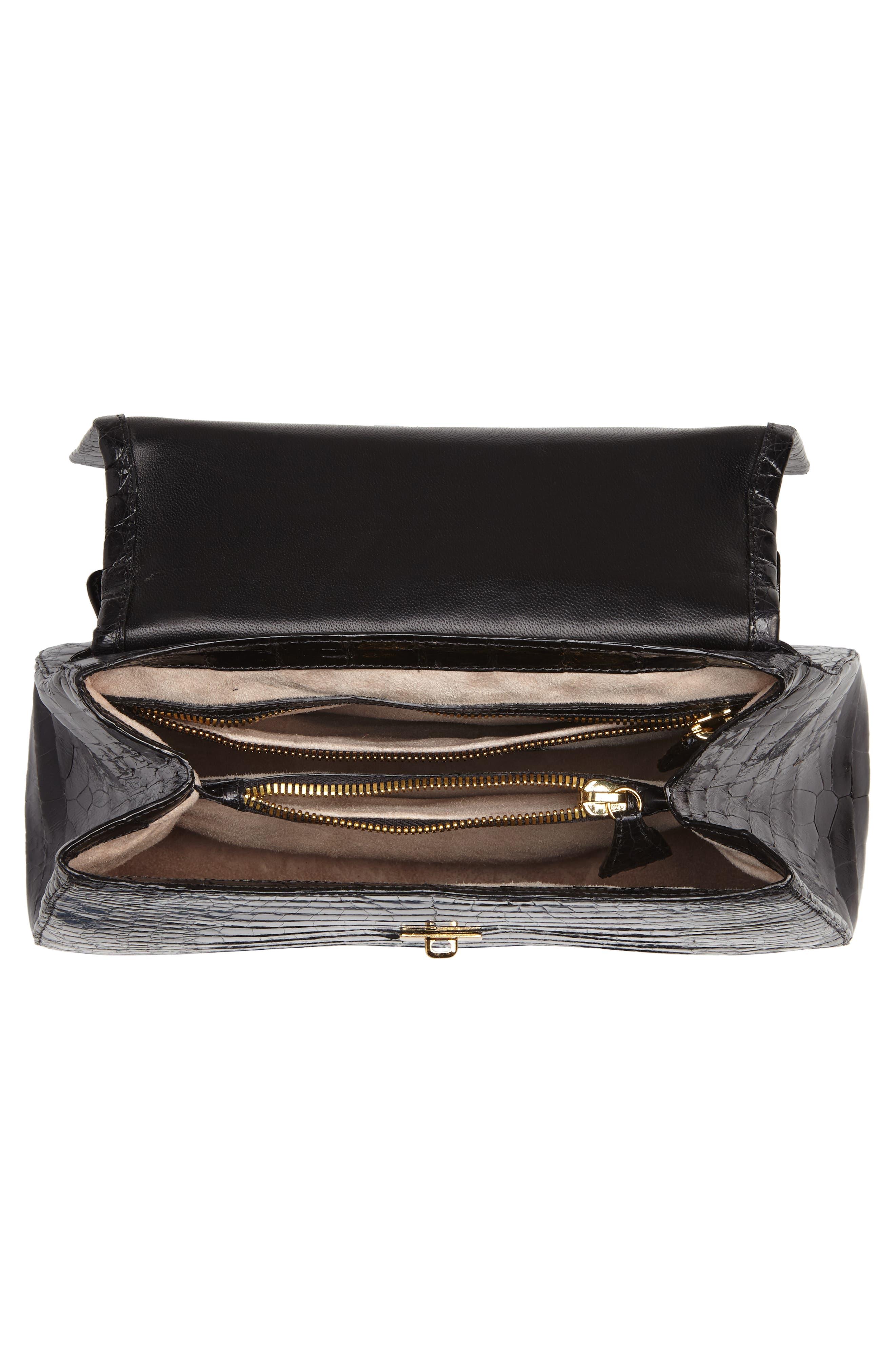 Genuine Crocodile Top Handle Bag,                             Alternate thumbnail 4, color,                             BLACK