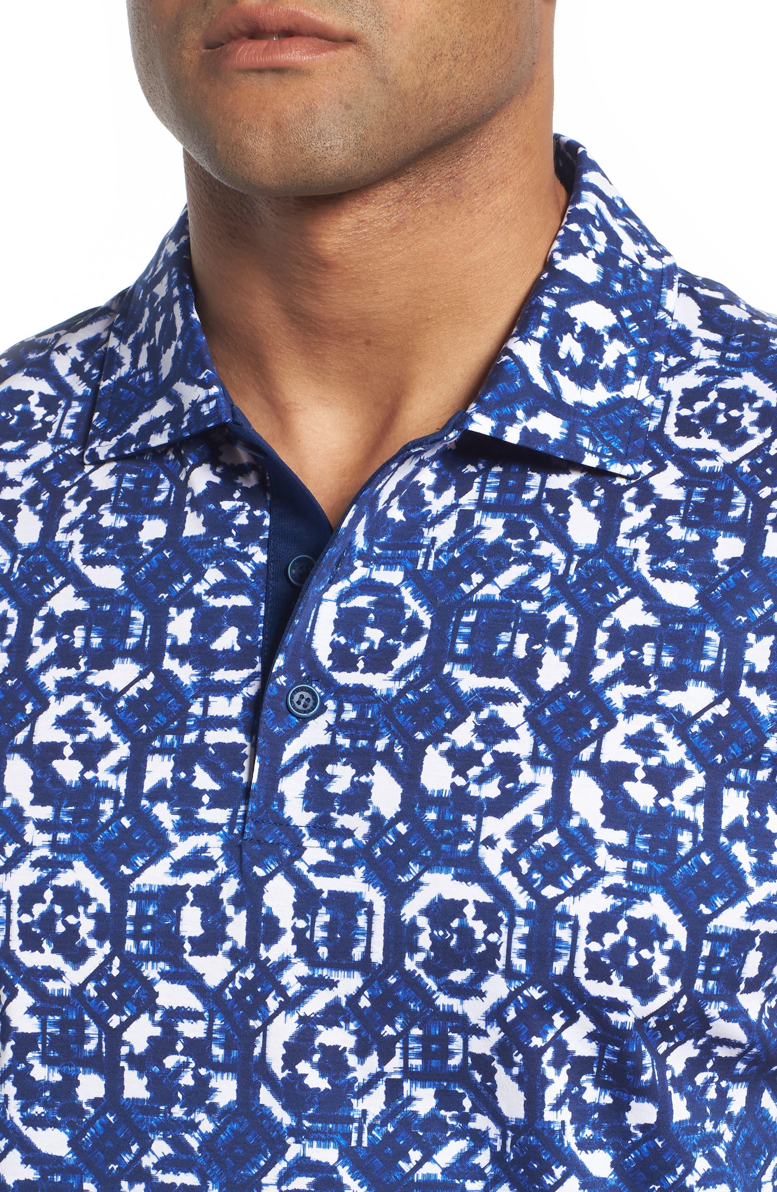 Geometric Knit Polo,                             Alternate thumbnail 4, color,                             410