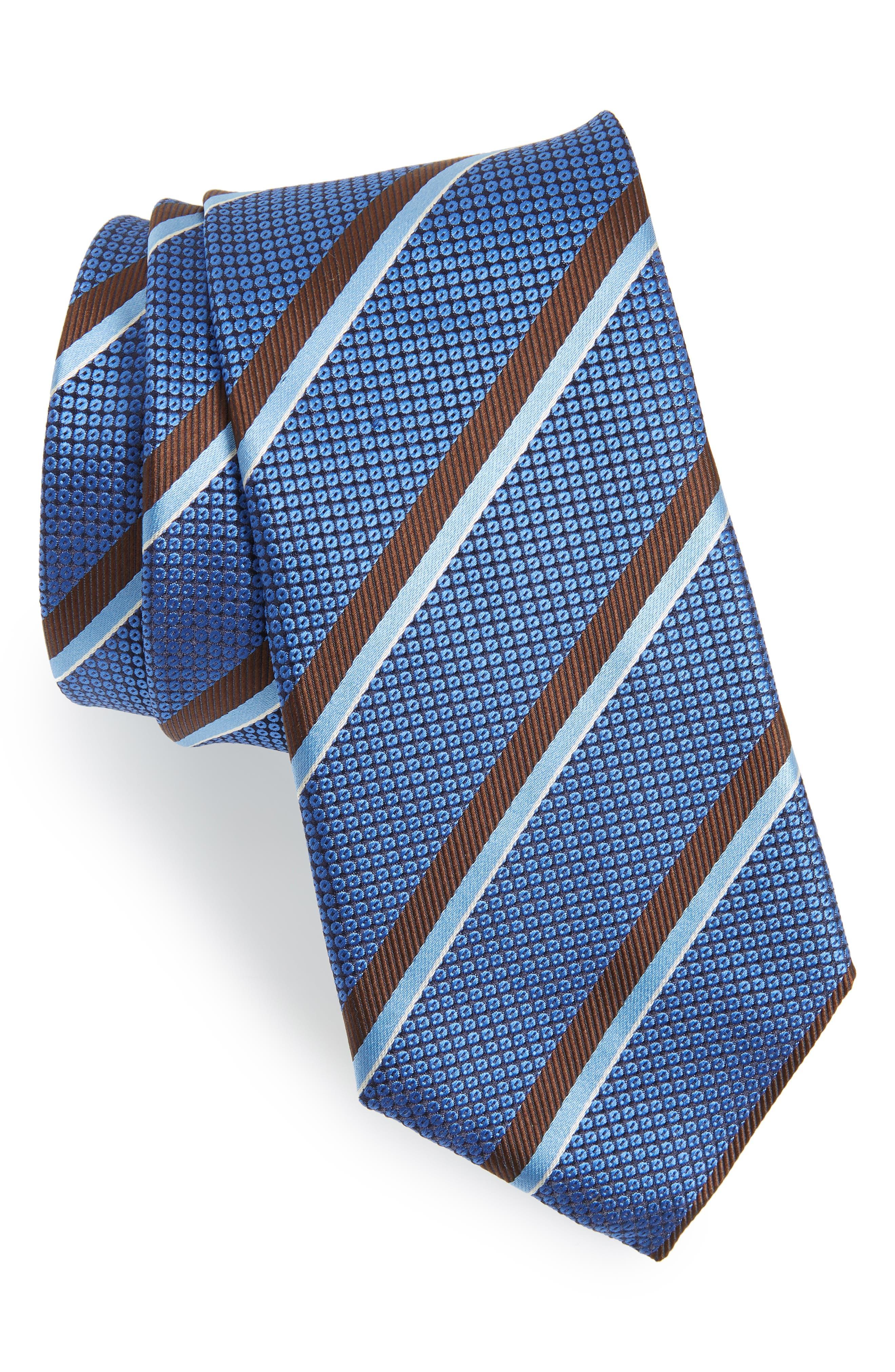 Stripe Silk Tie,                             Main thumbnail 1, color,                             BLUE
