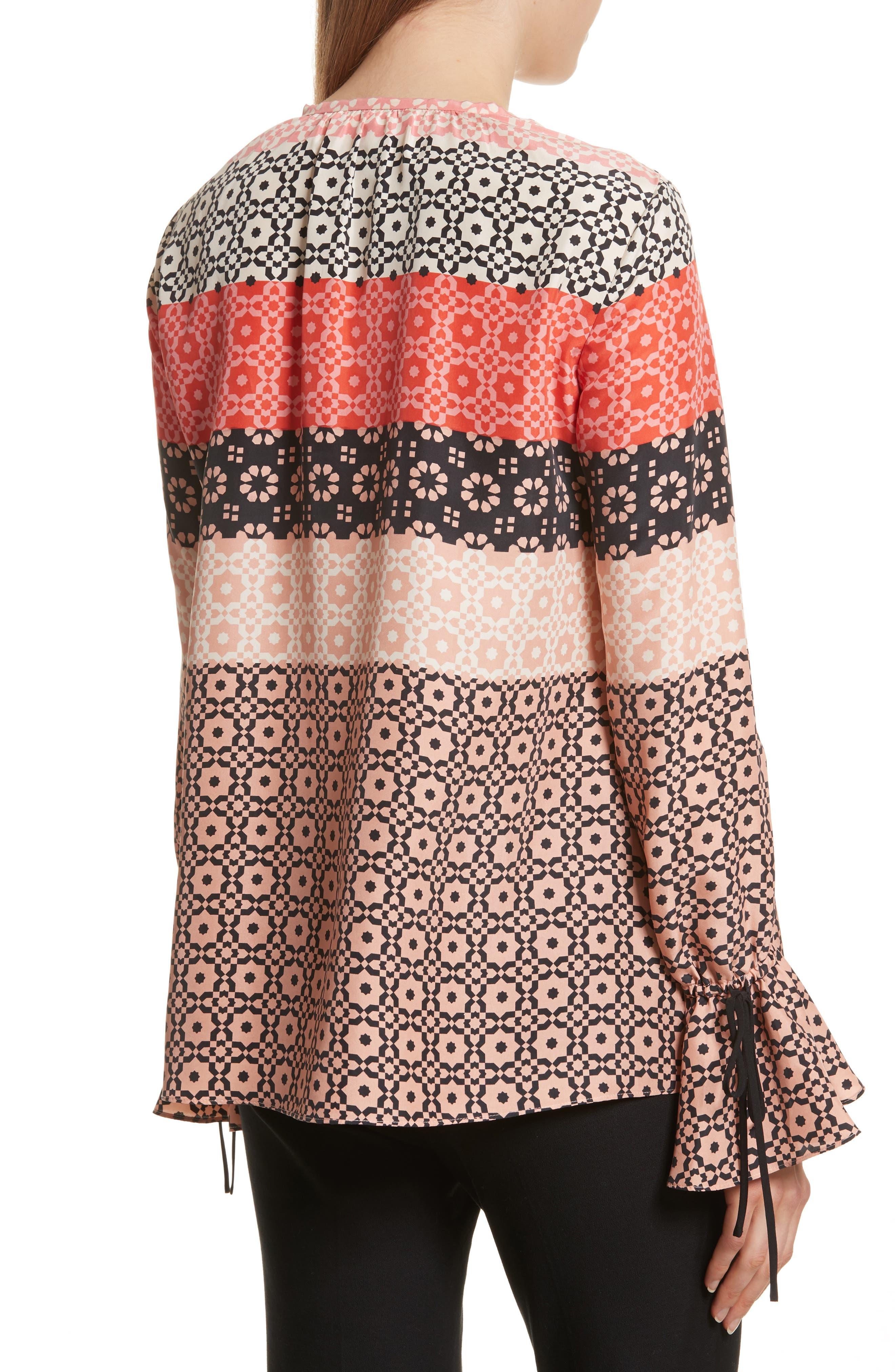 Tie Sleeve Print Silk Blouse,                             Alternate thumbnail 2, color,                             681
