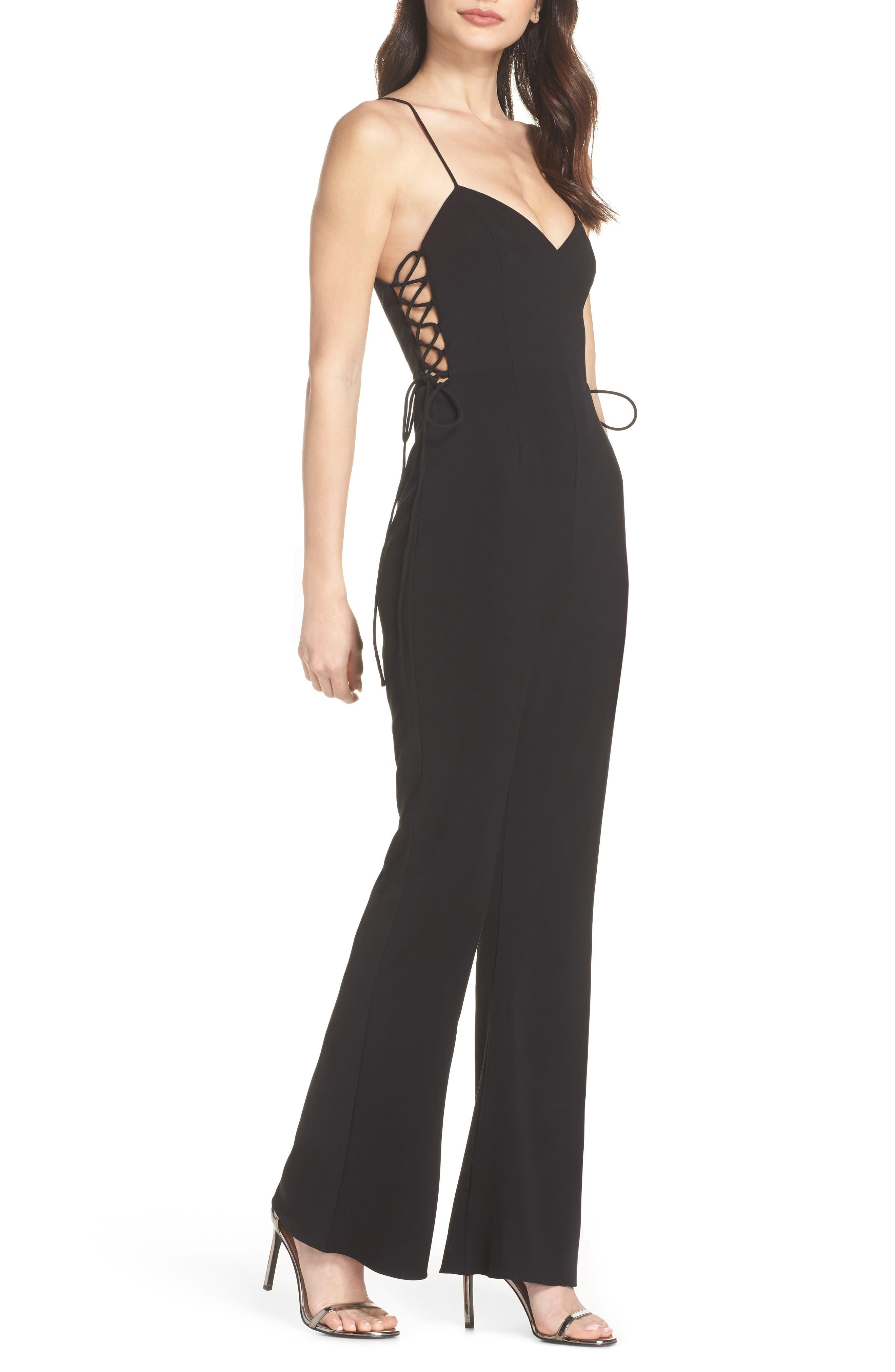 Tania Lace-Up Jumpsuit,                         Main,                         color, BLACK