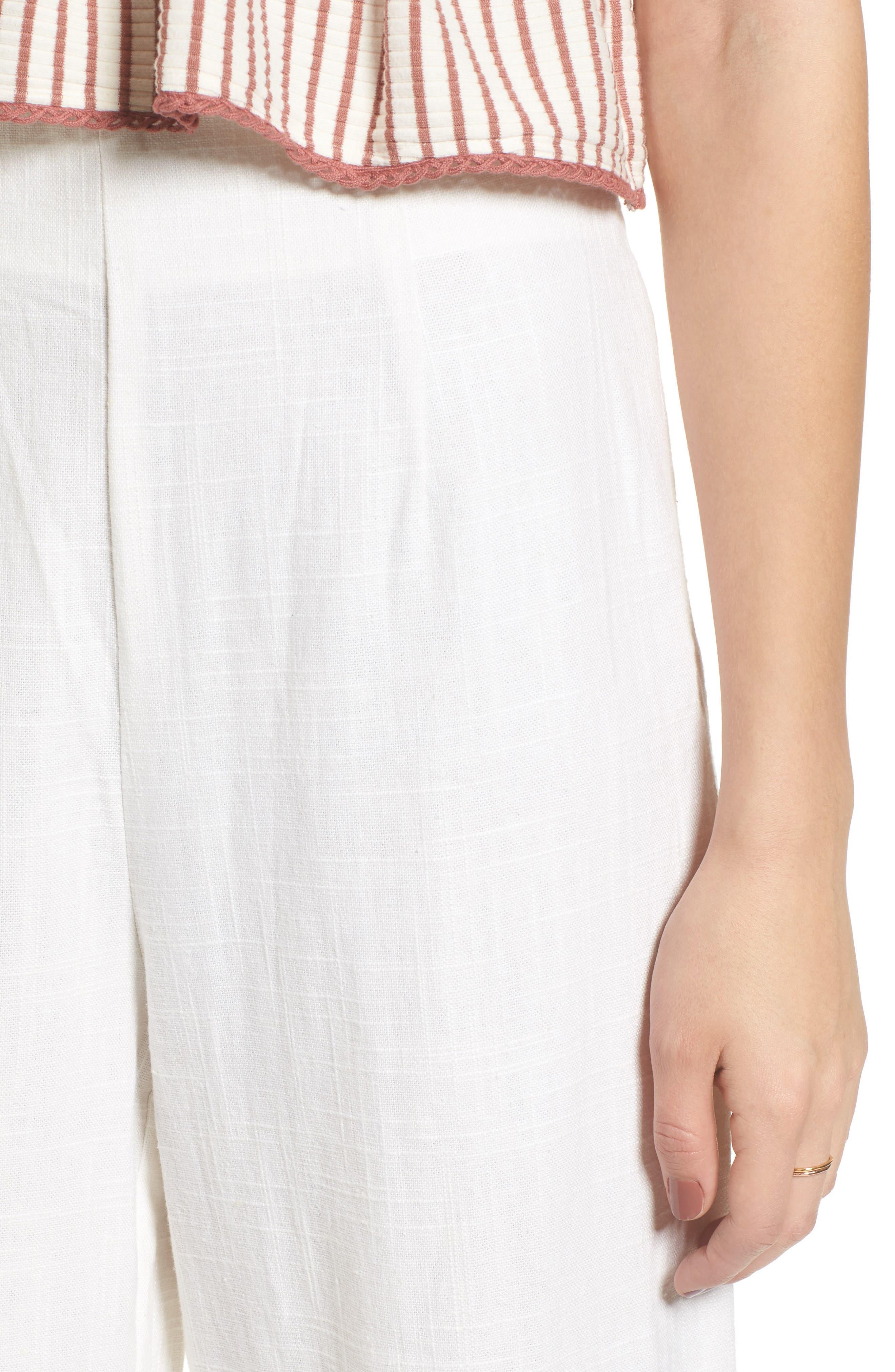 Linen High Waist Crop Pants,                             Alternate thumbnail 4, color,