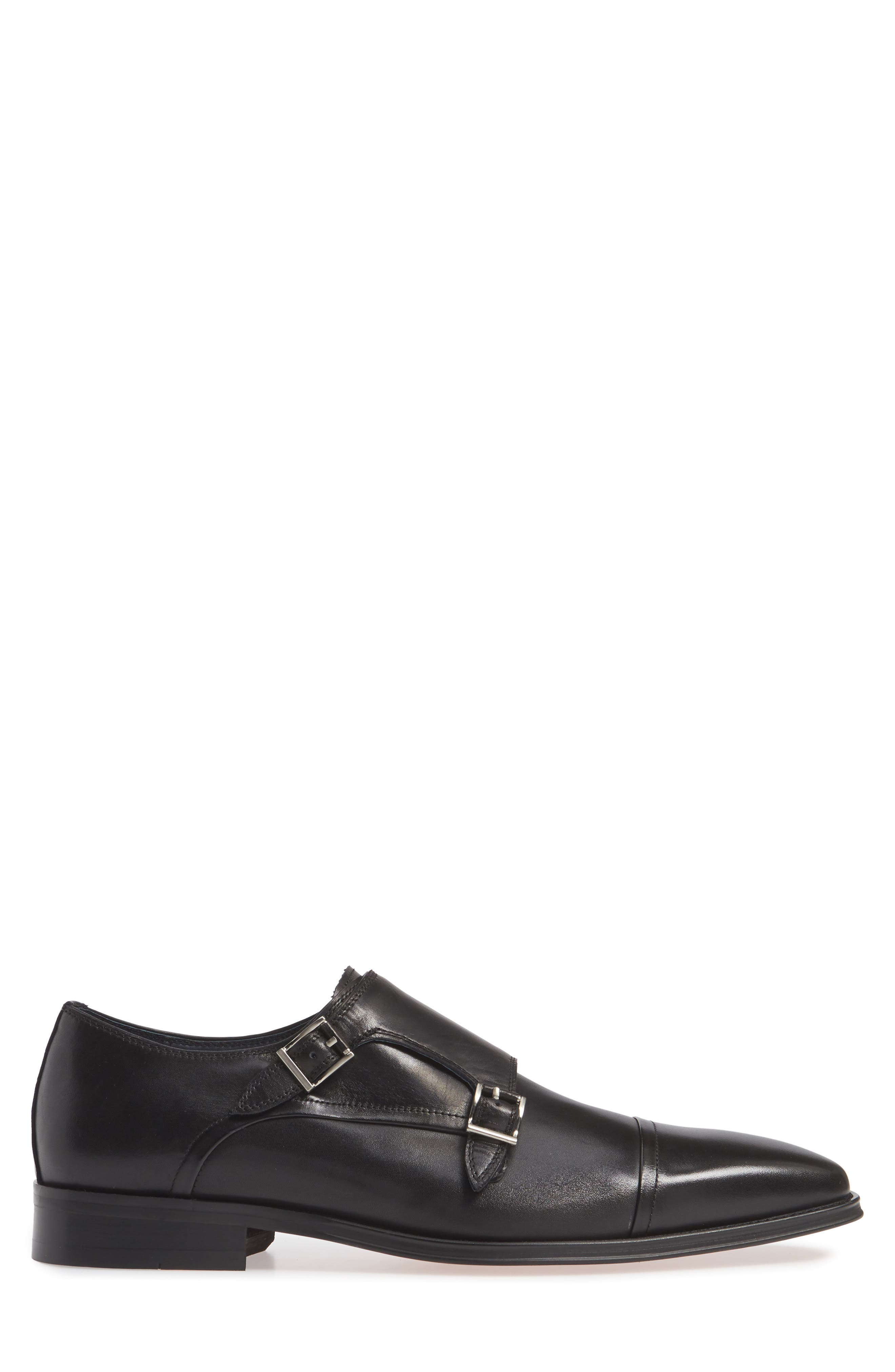 Mario Double Monk Strap Shoe,                             Alternate thumbnail 3, color,                             BLACK LEATHER