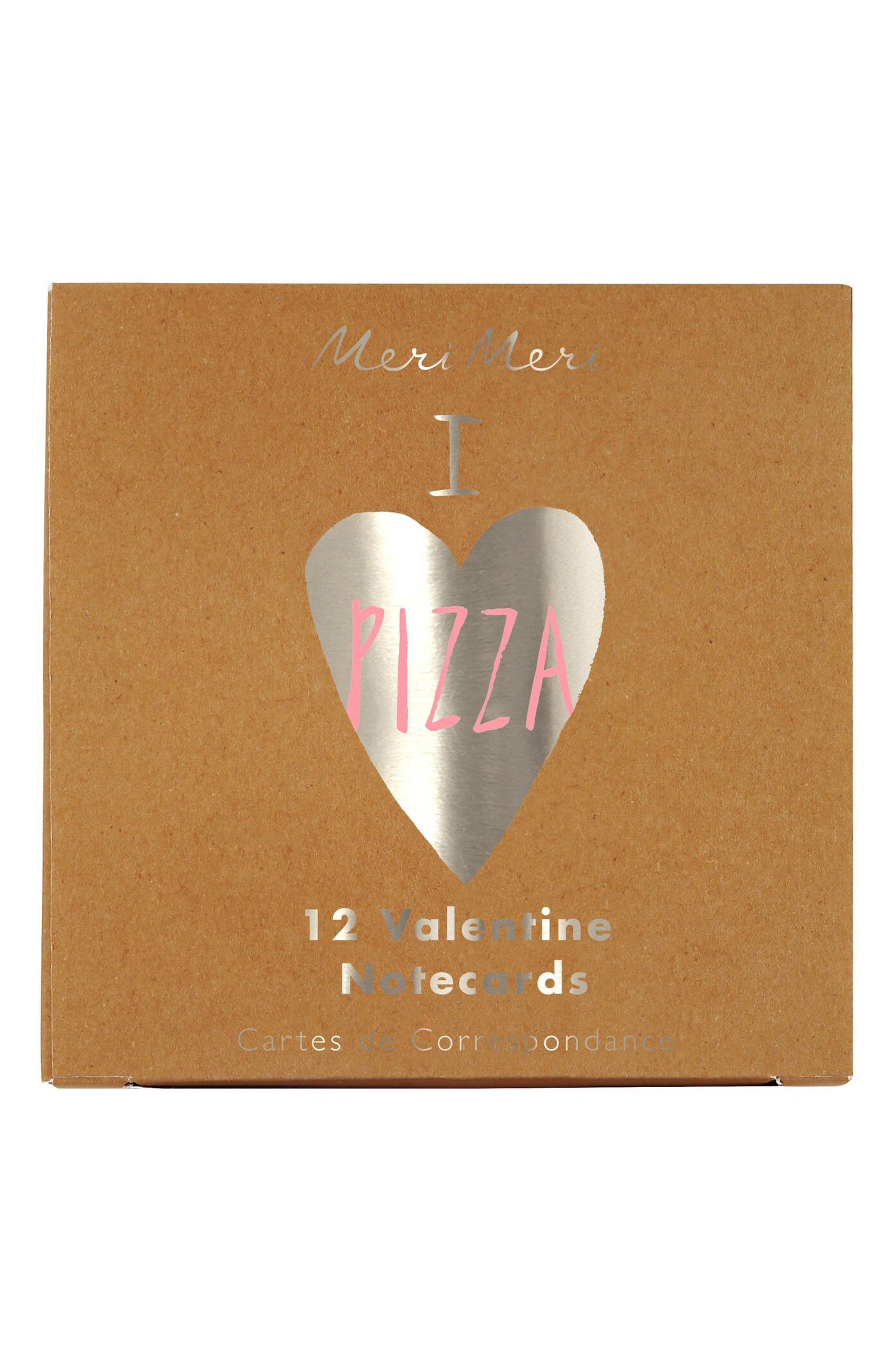 Set of 12 Pizza Valentine Cards & Stickers,                             Main thumbnail 1, color,                             200