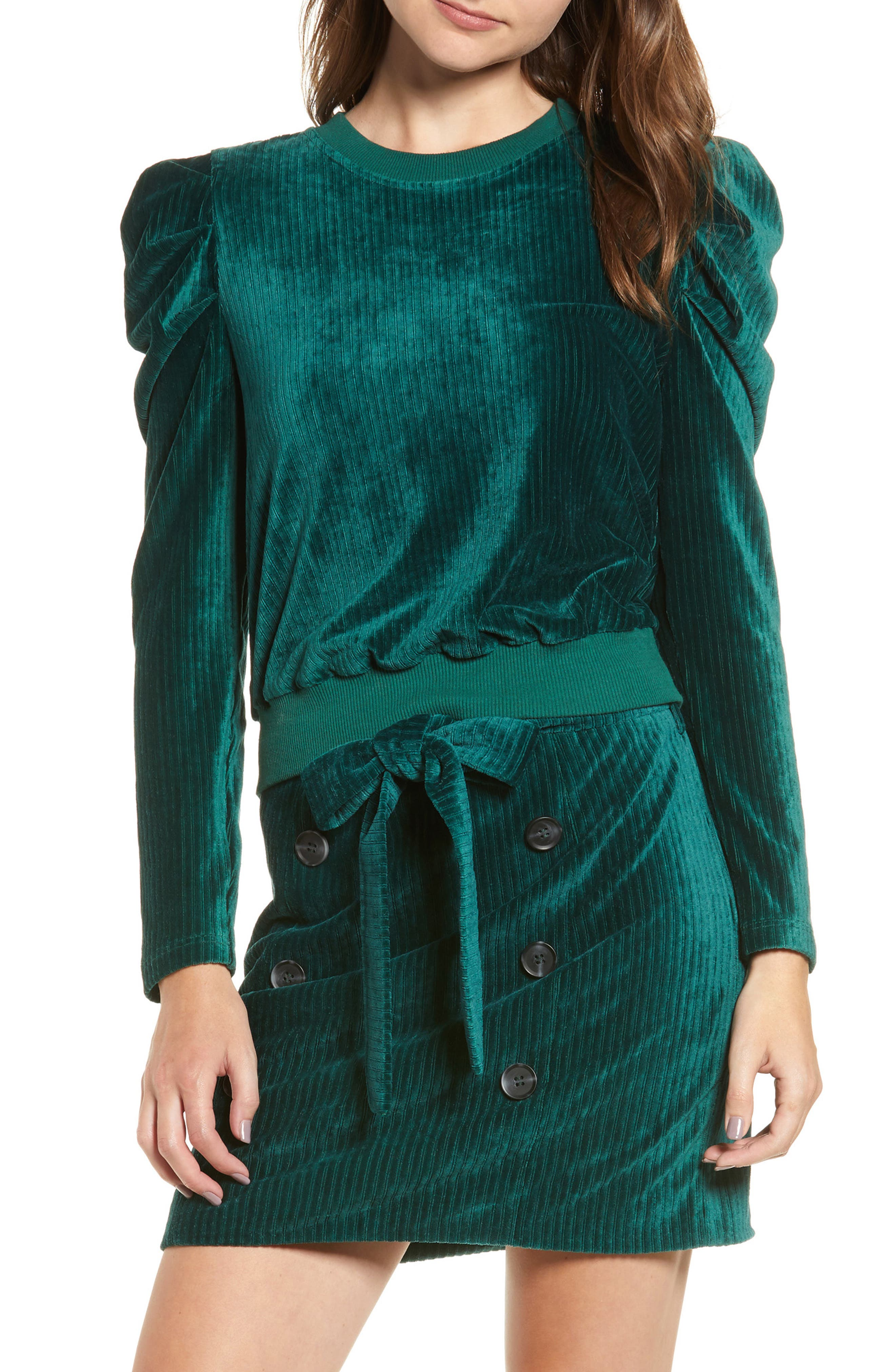 Velour Puff Sleeve Sweatshirt,                         Main,                         color, PINE