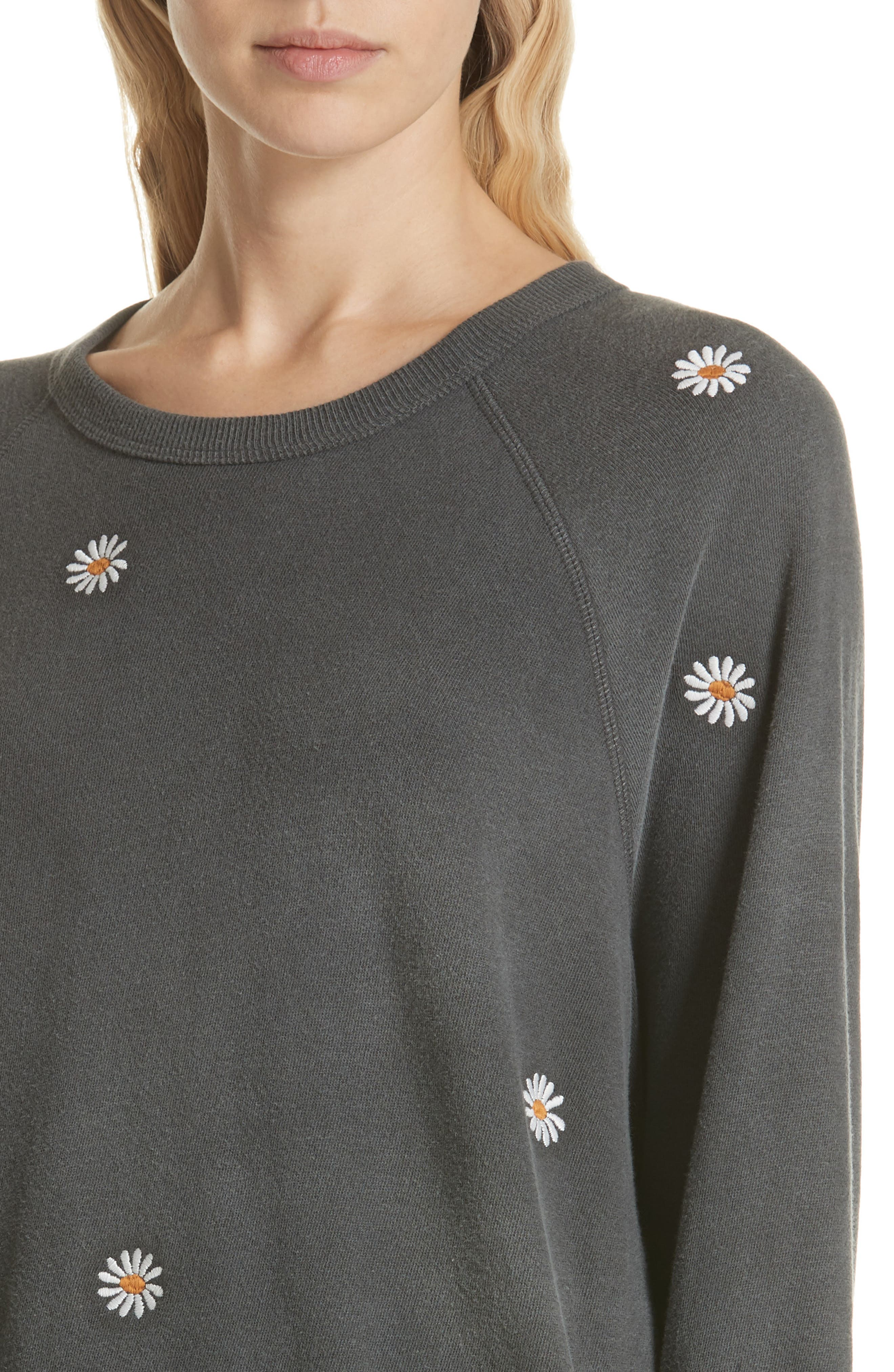 The Daisy Embroidered College Sweatshirt,                             Alternate thumbnail 4, color,                             001