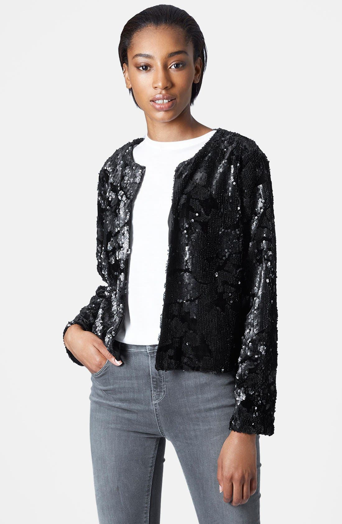 Velvet Sequin Jacket,                             Main thumbnail 1, color,                             001