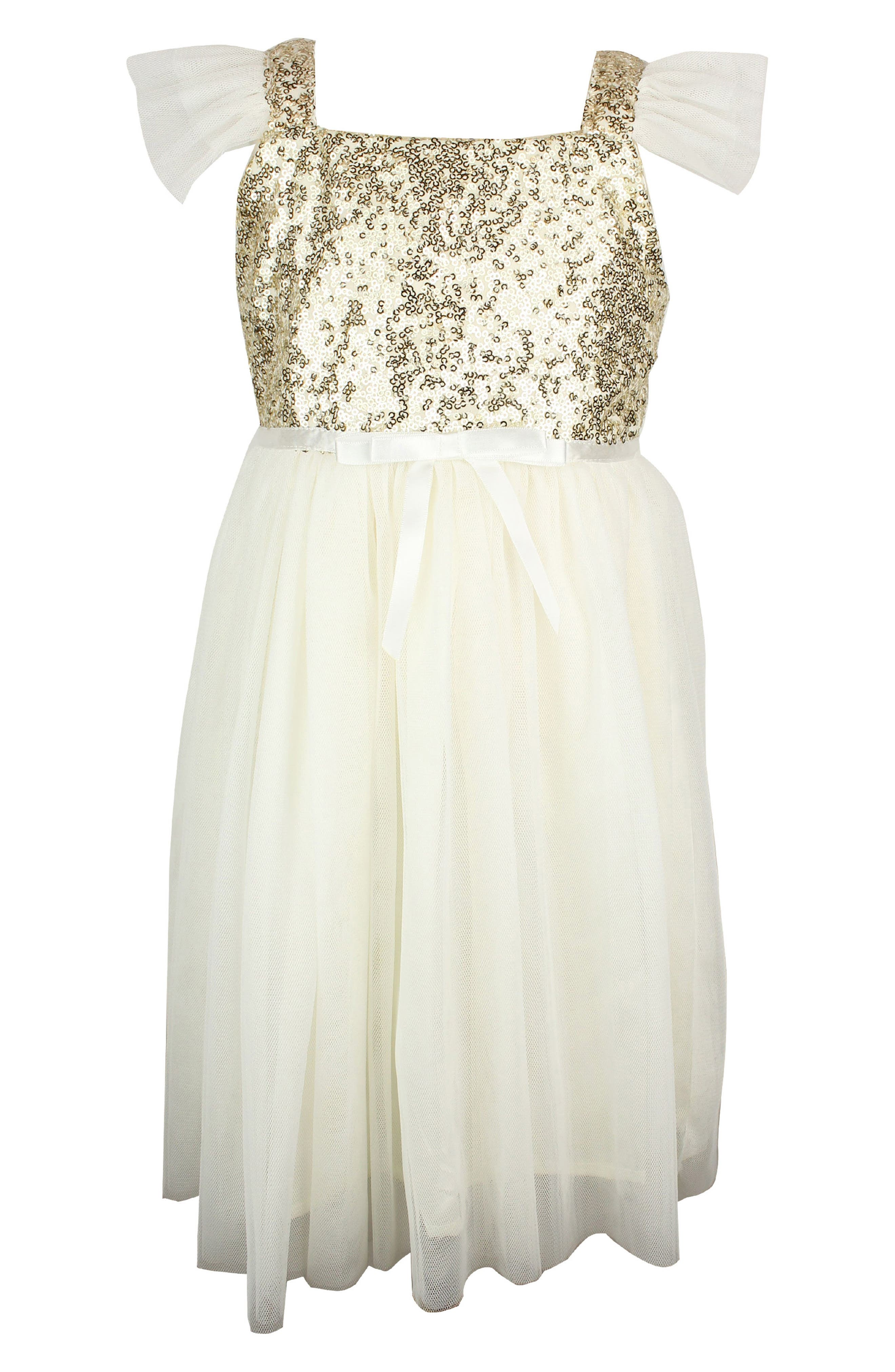Sequin Bodice Tulle Dress,                         Main,                         color, WHITE/ GOLD