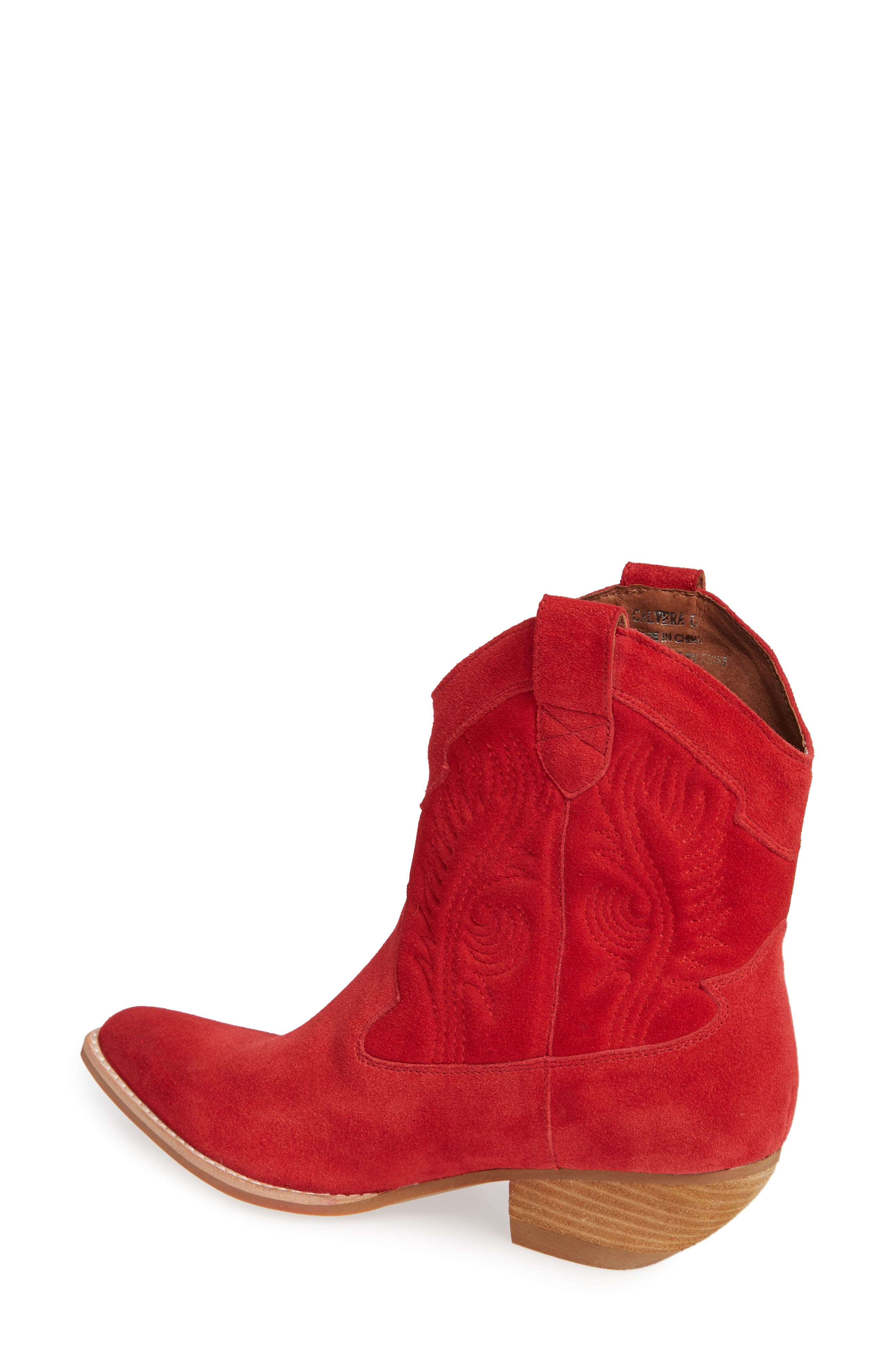 Calvera Western Boot,                             Alternate thumbnail 2, color,                             RED SUEDE