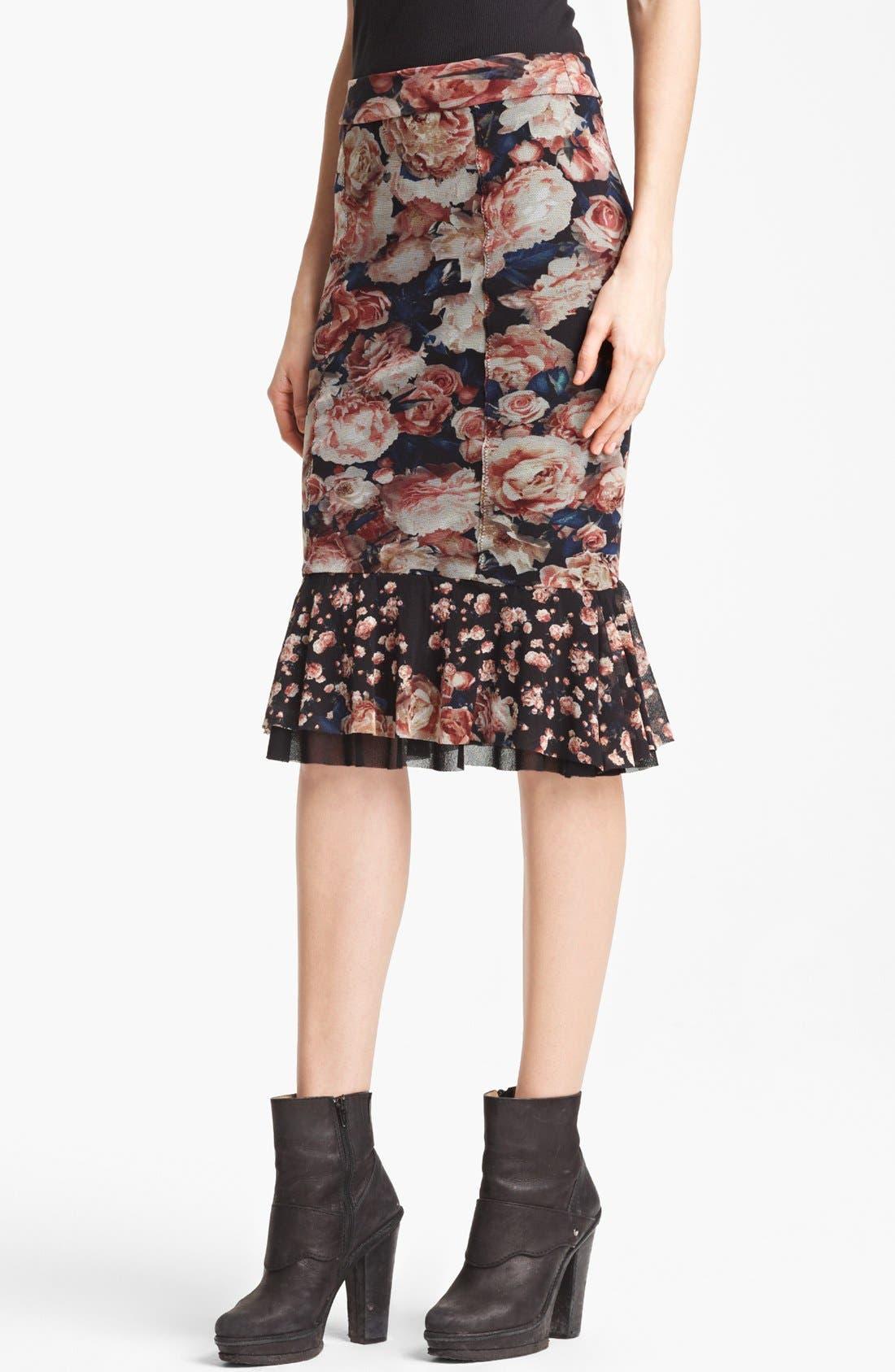 Jean Paul Gaultier Fuzzi Flare Hem Skirt,                             Main thumbnail 1, color,                             001