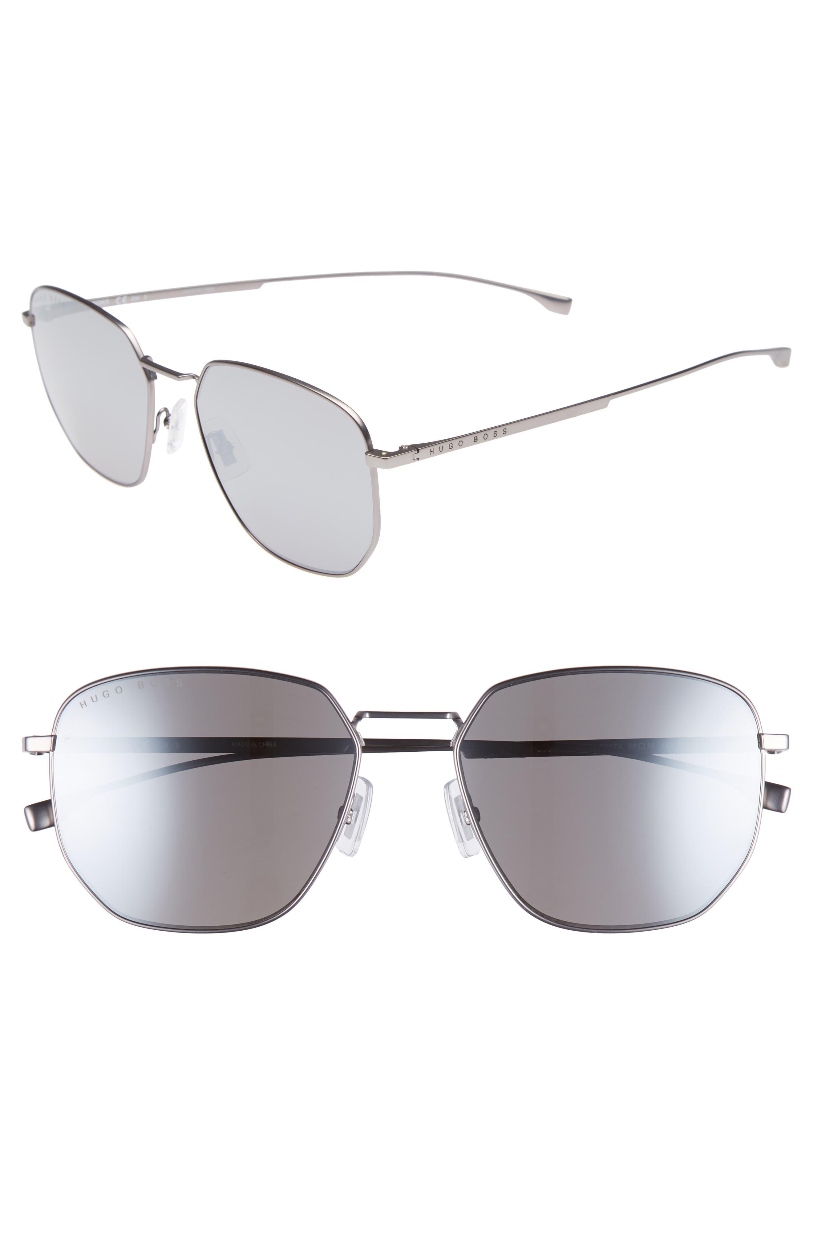 Special Fit 58mm Polarized Titanium Aviator Sunglasses,                         Main,                         color, MATTE GREY