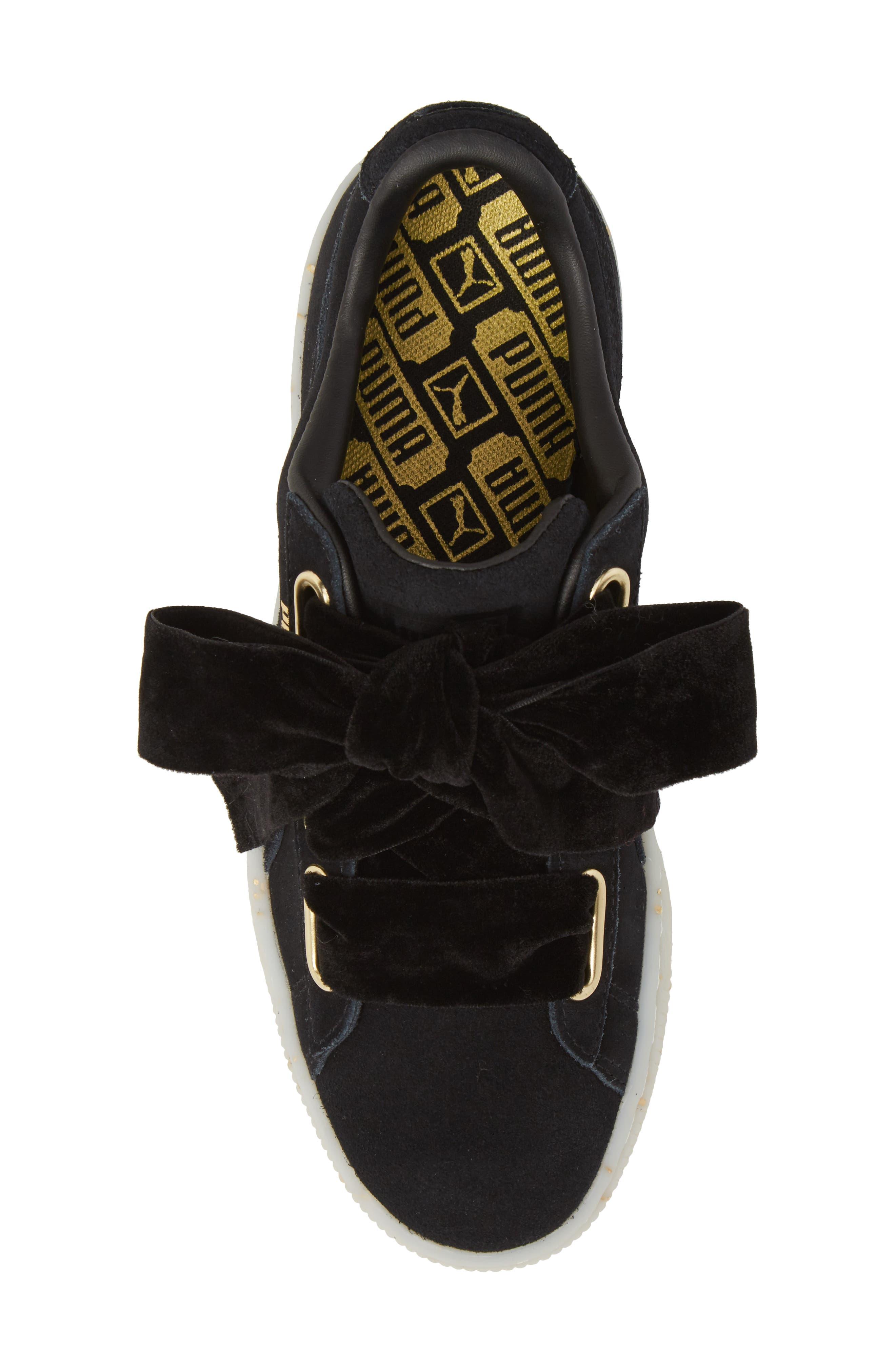 Suede - Heart Sneaker,                             Alternate thumbnail 5, color,                             002