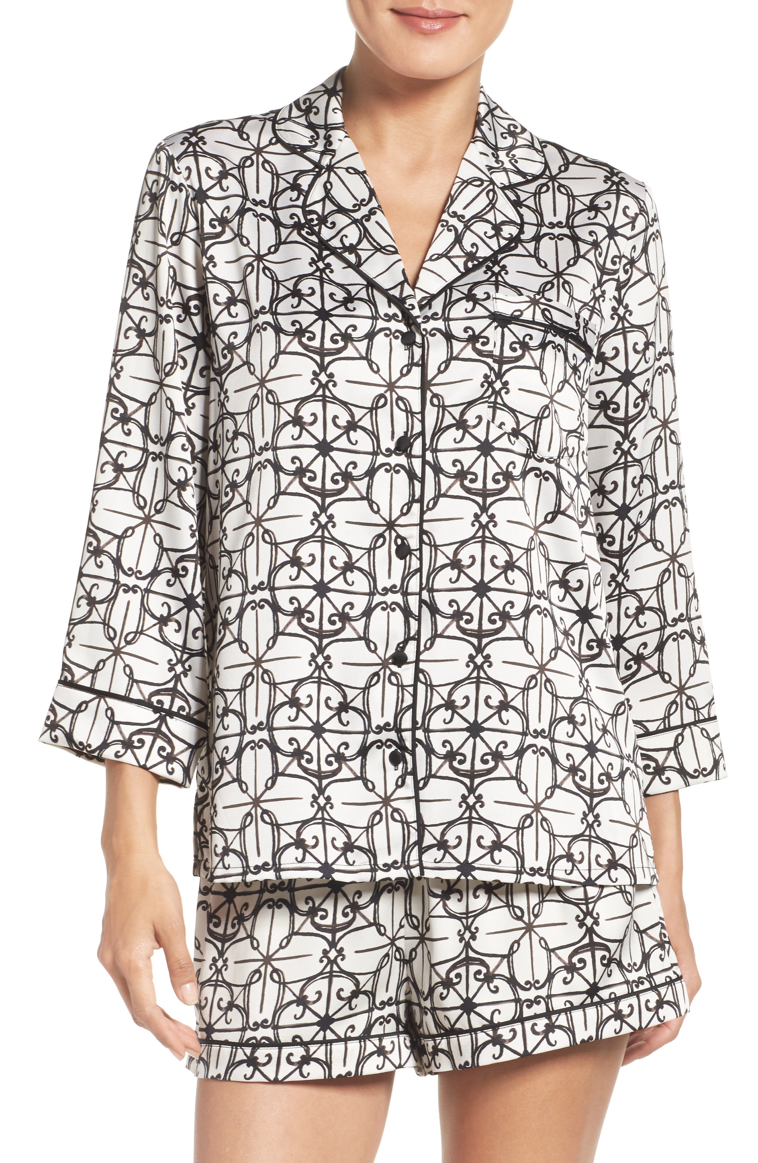 KATE SPADE NEW YORK satin short pajamas, Main, color, 001