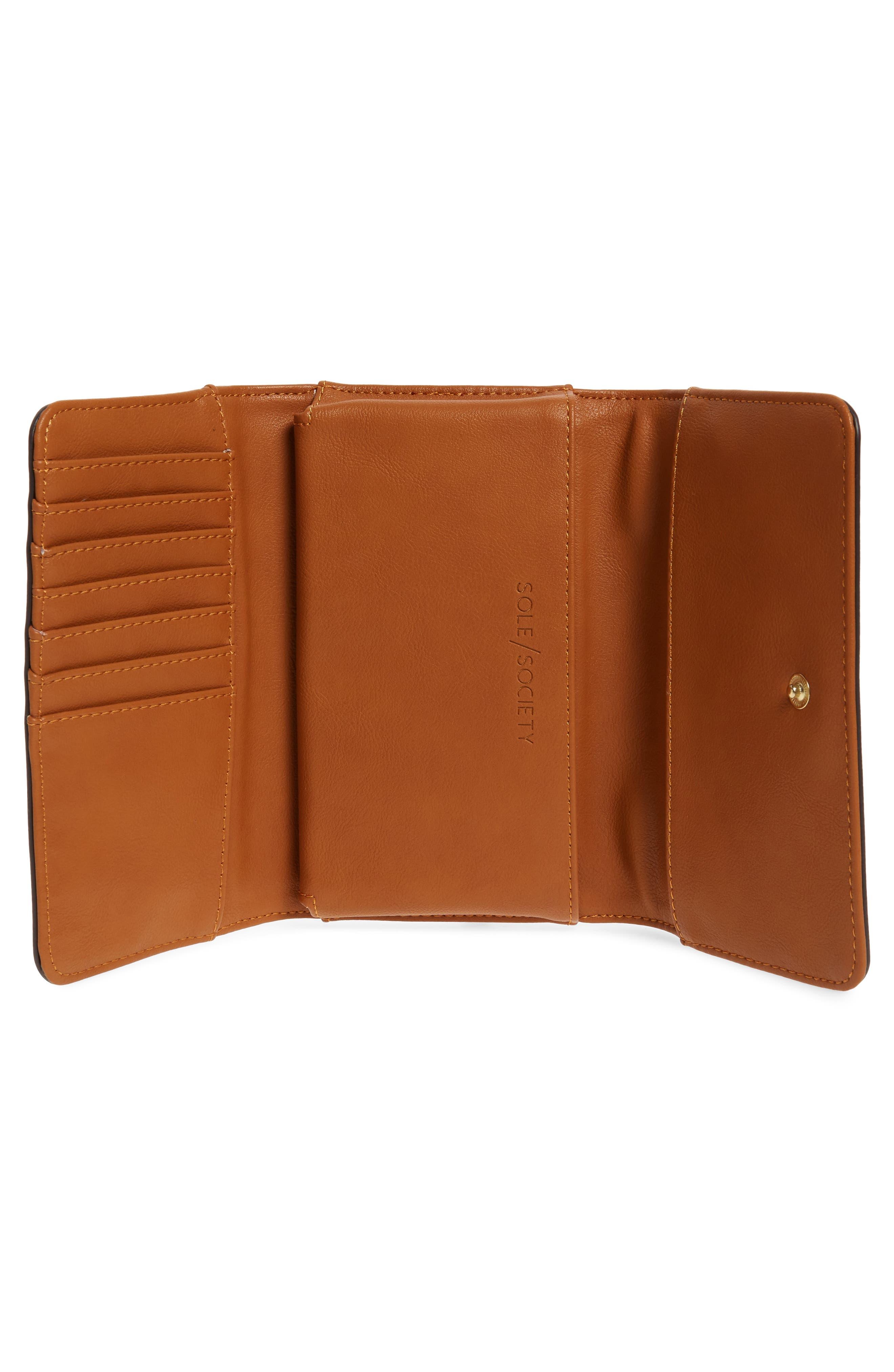 Faux Leather Phone Wallet,                             Alternate thumbnail 4, color,                             COGNAC