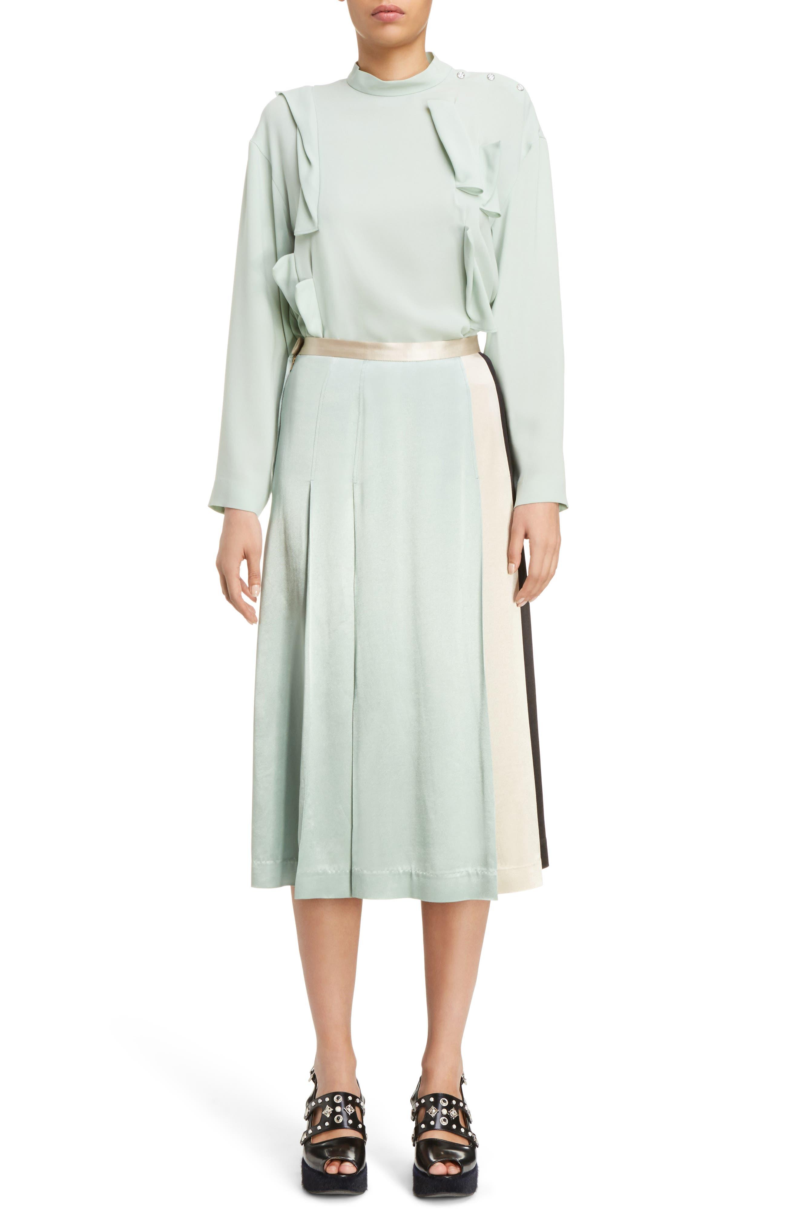 Pleated Satin Skirt,                             Alternate thumbnail 6, color,                             300