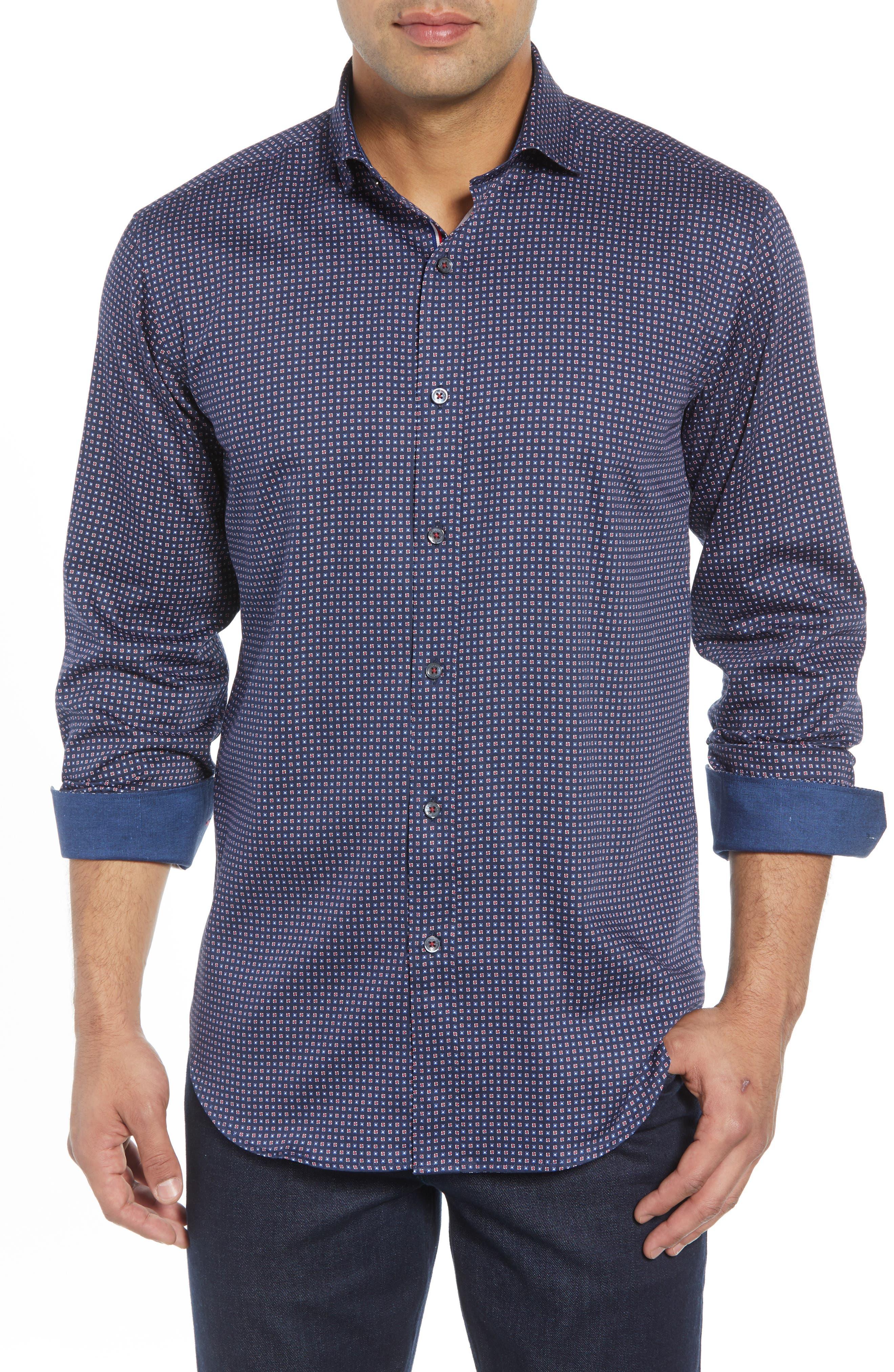 BUGATCHI Shaped Fit Print Sport Shirt, Main, color, 400