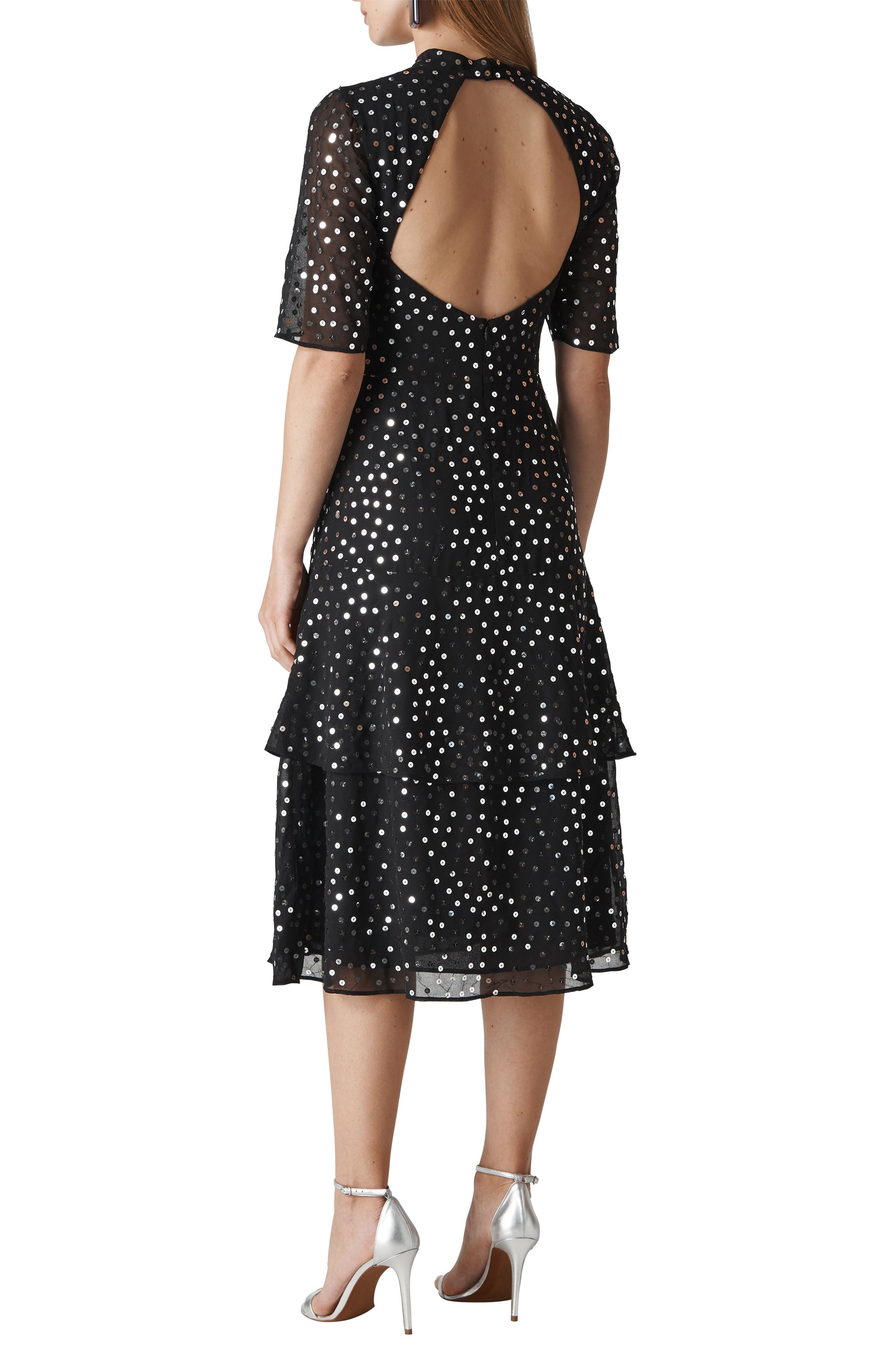 Ivanna Sequin Dress,                             Alternate thumbnail 2, color,                             BLACK/ MULTI