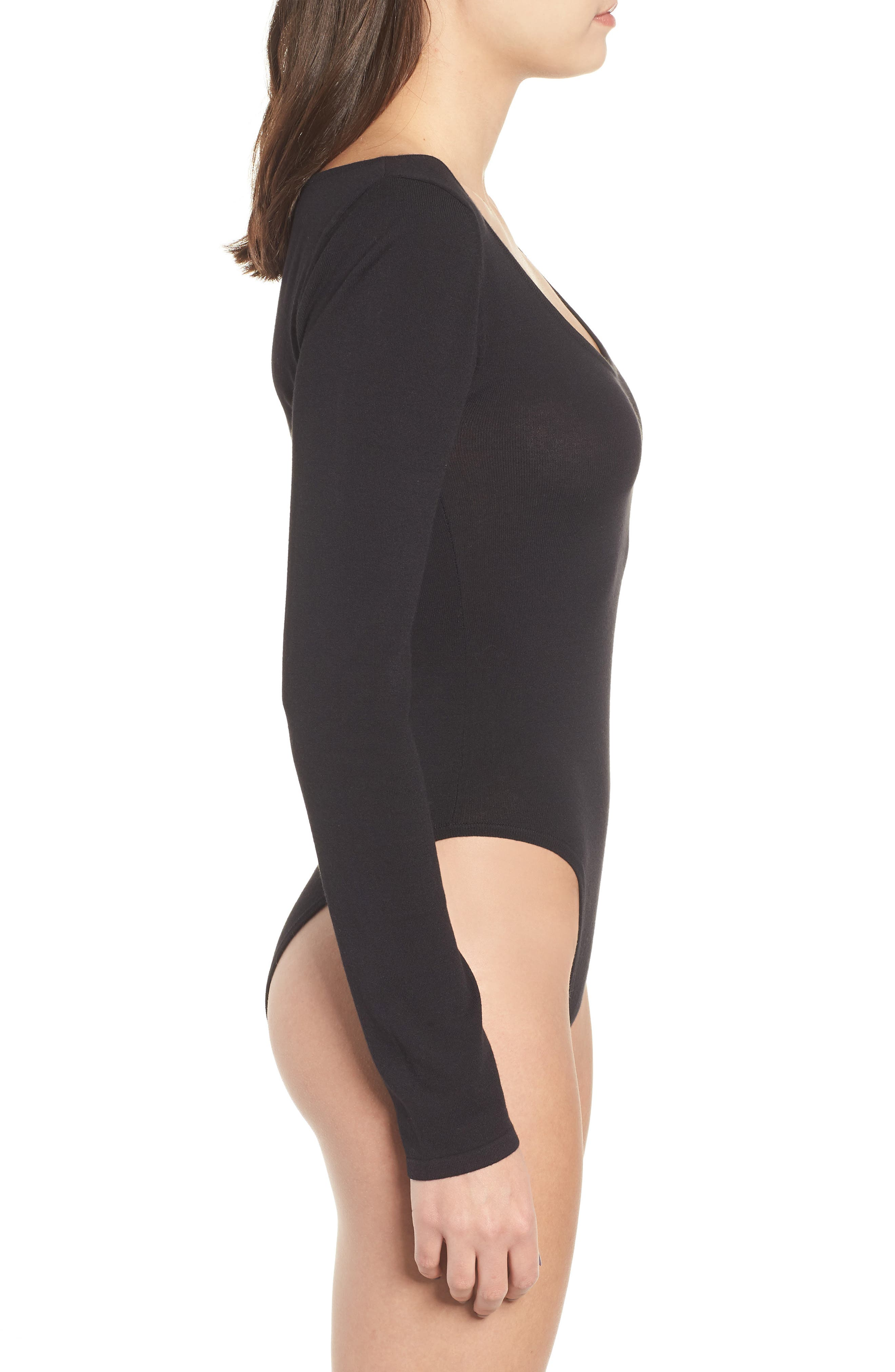 Slim Bodysuit,                             Alternate thumbnail 5, color,                             BLACK