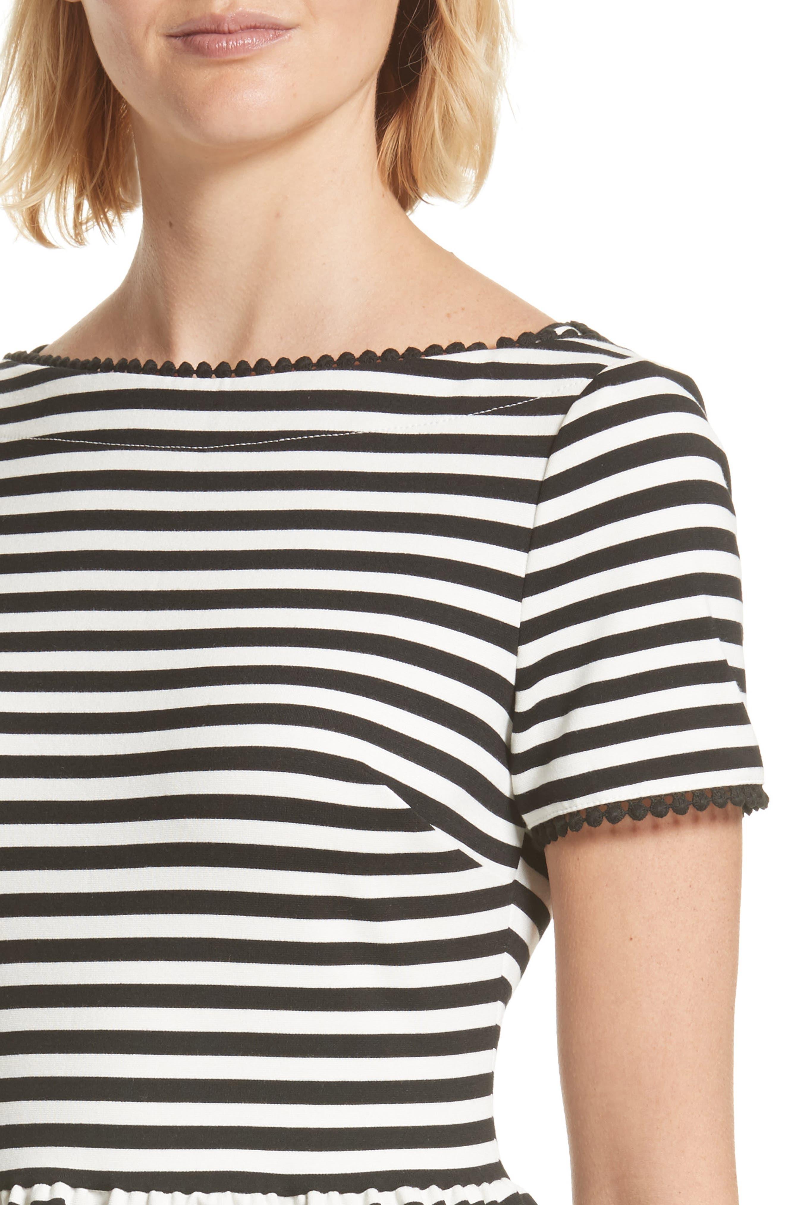 KATE SPADE NEW YORK,                             stripe ponte dress,                             Alternate thumbnail 4, color,                             900