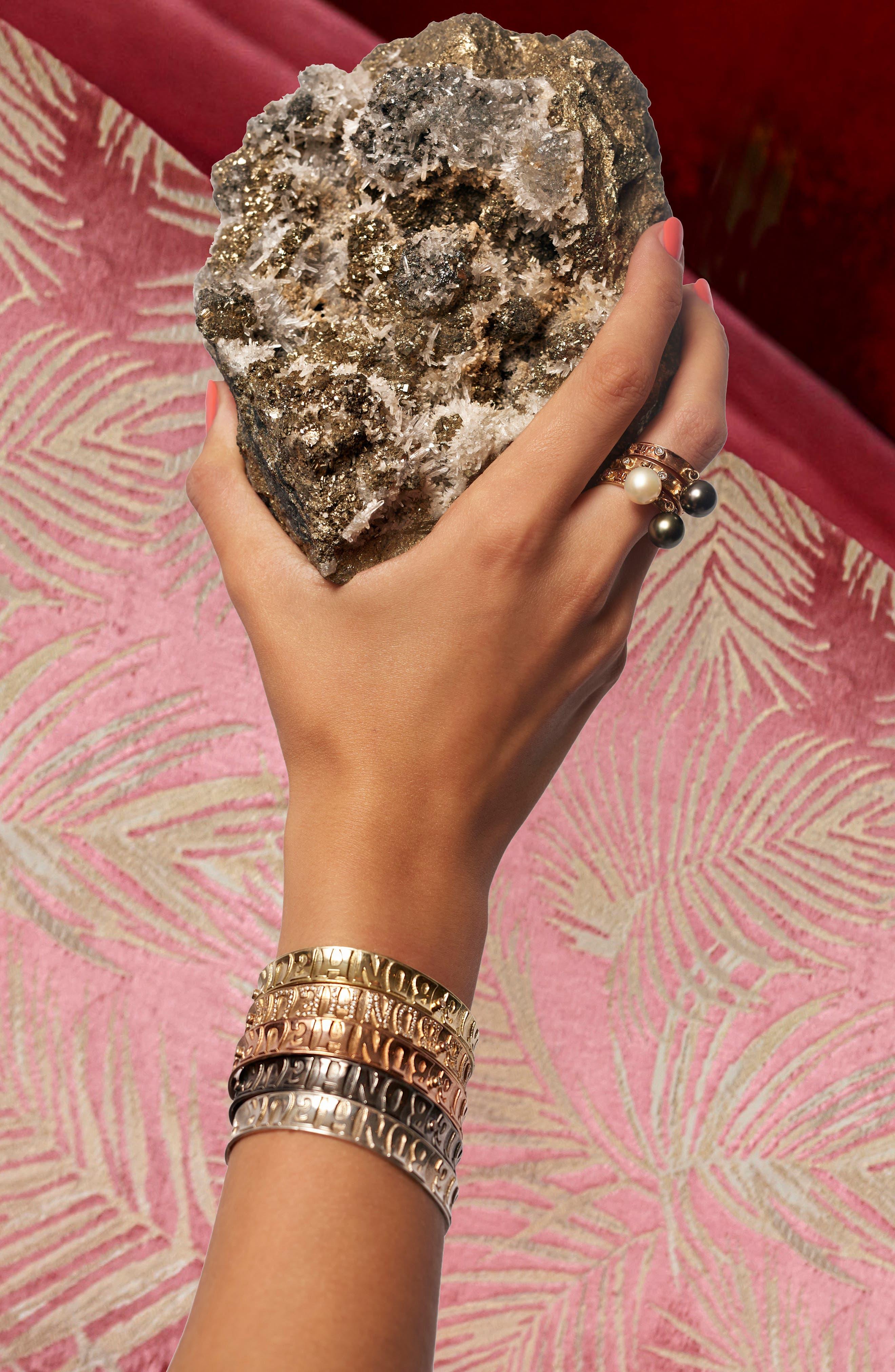 Dancing Pearl Ring,                             Alternate thumbnail 4, color,                             YELLOW GOLD