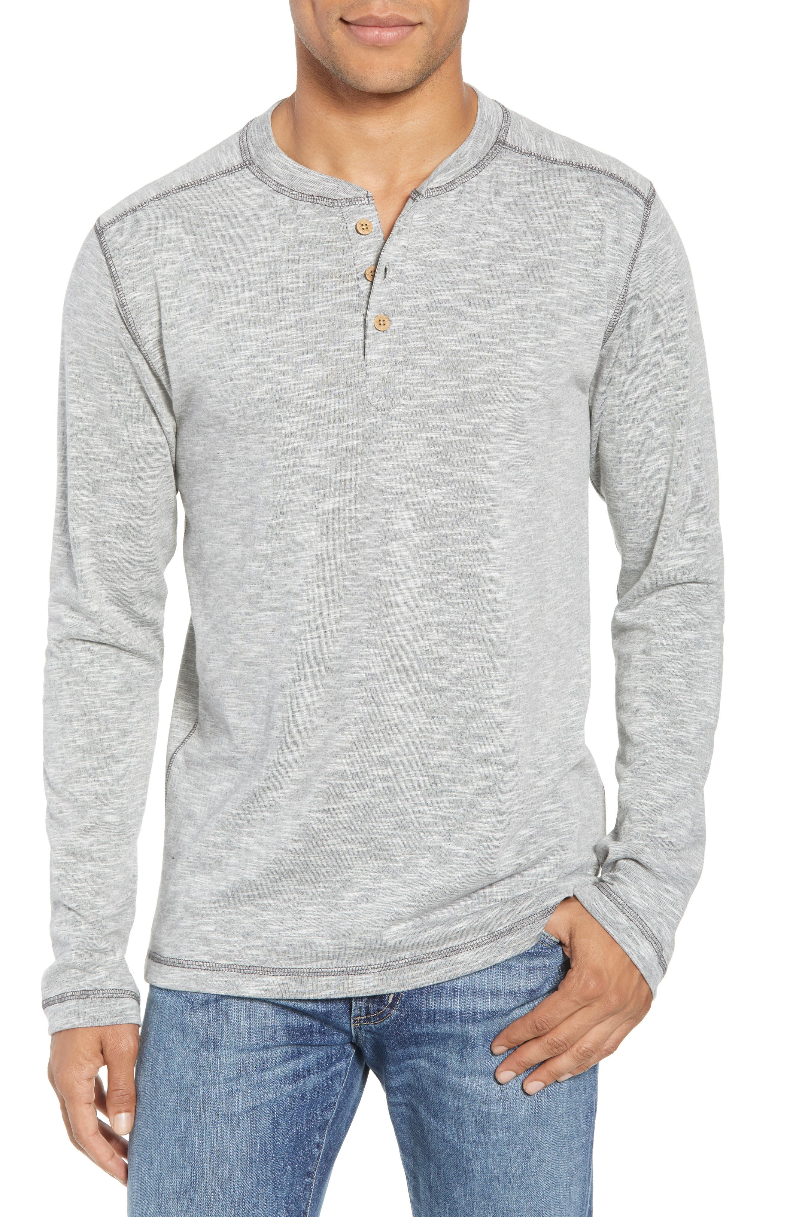 Vintage 1946 Space Dyed Long Sleeve Henley, Grey