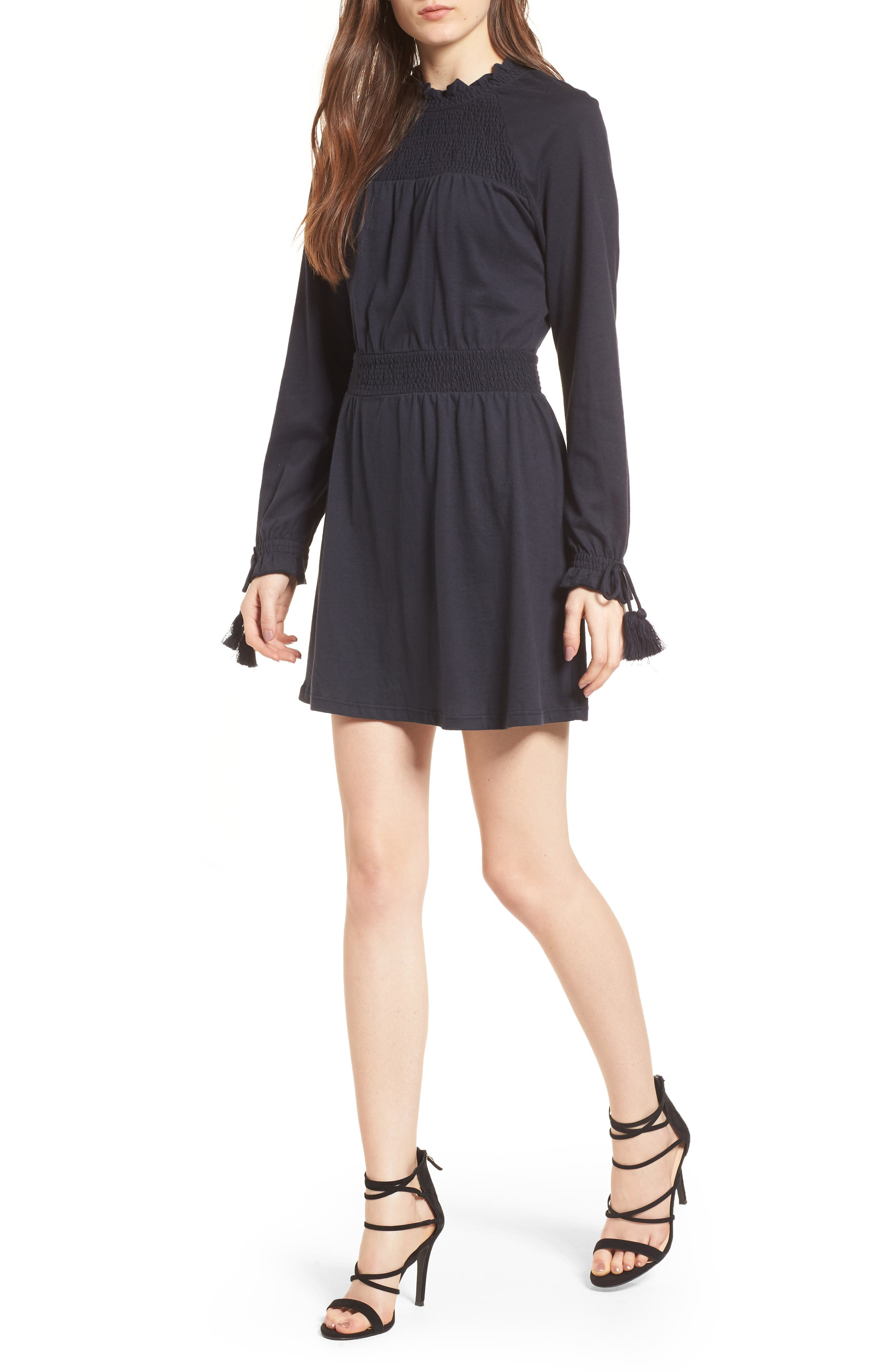 Ruffle Collar Smock Dress,                         Main,                         color, 410