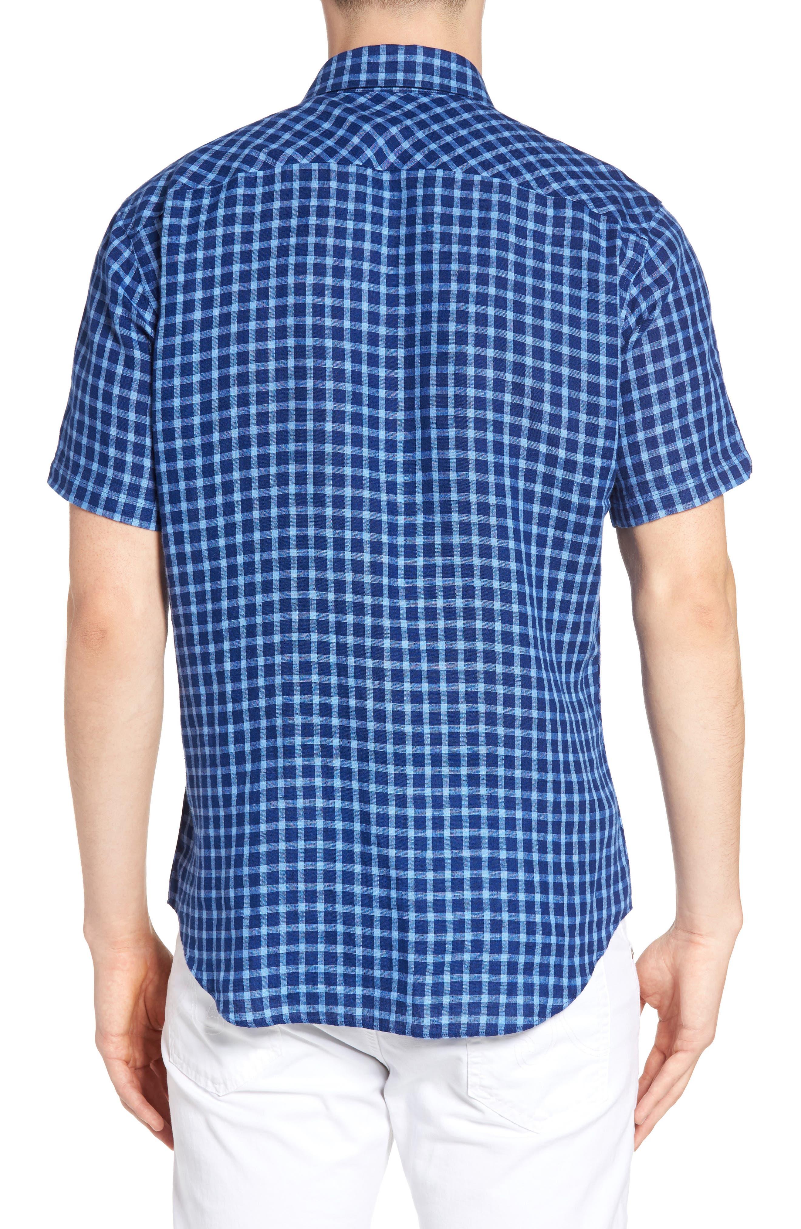 Ray Plaid Linen Sport Shirt,                             Alternate thumbnail 2, color,                             421