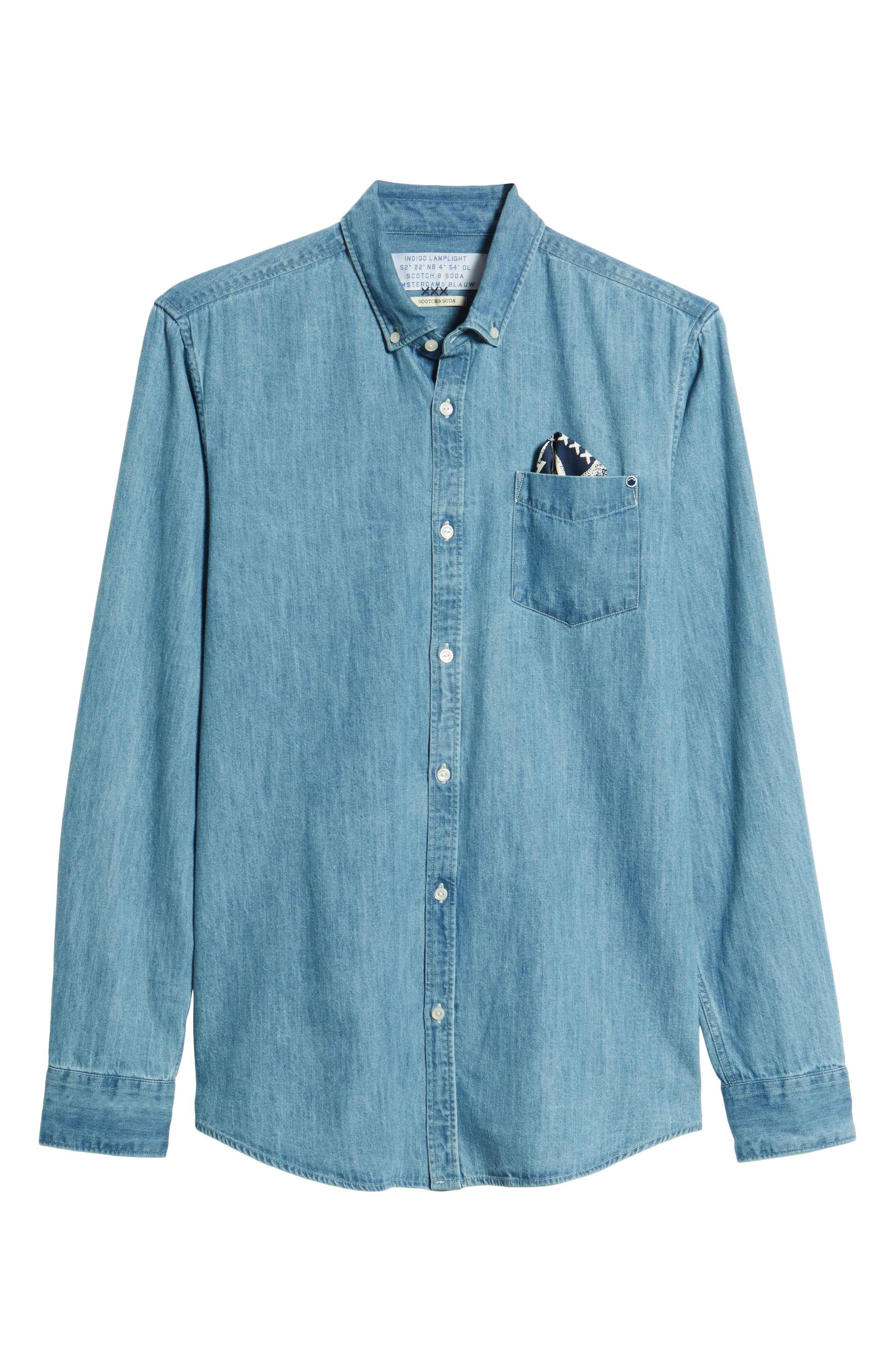 Amsterdams Blauw Pocket Square Chambray Sport Shirt,                             Alternate thumbnail 6, color,                             DENIM BLUE